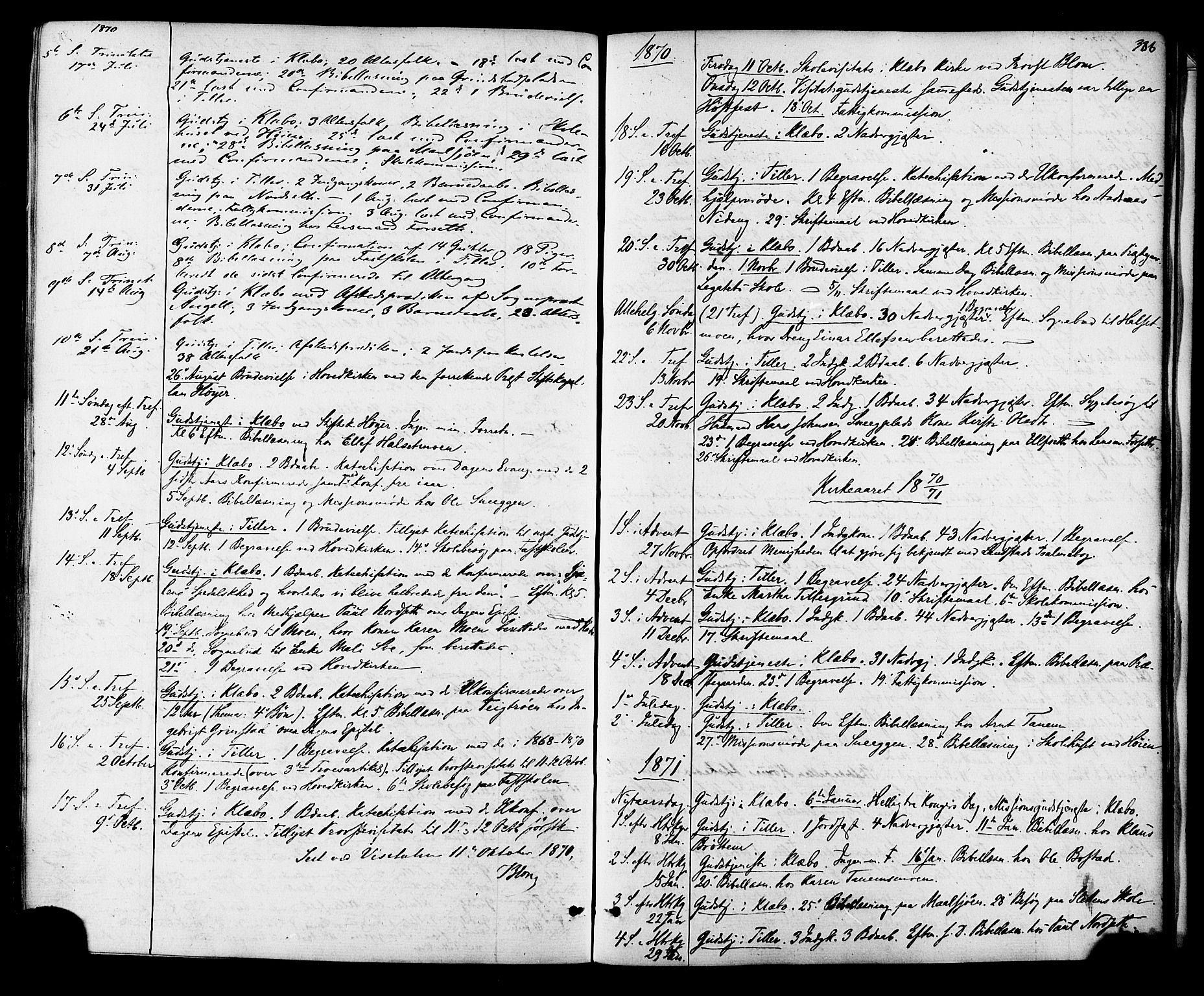 SAT, Ministerialprotokoller, klokkerbøker og fødselsregistre - Sør-Trøndelag, 618/L0442: Ministerialbok nr. 618A06 /1, 1863-1879, s. 386