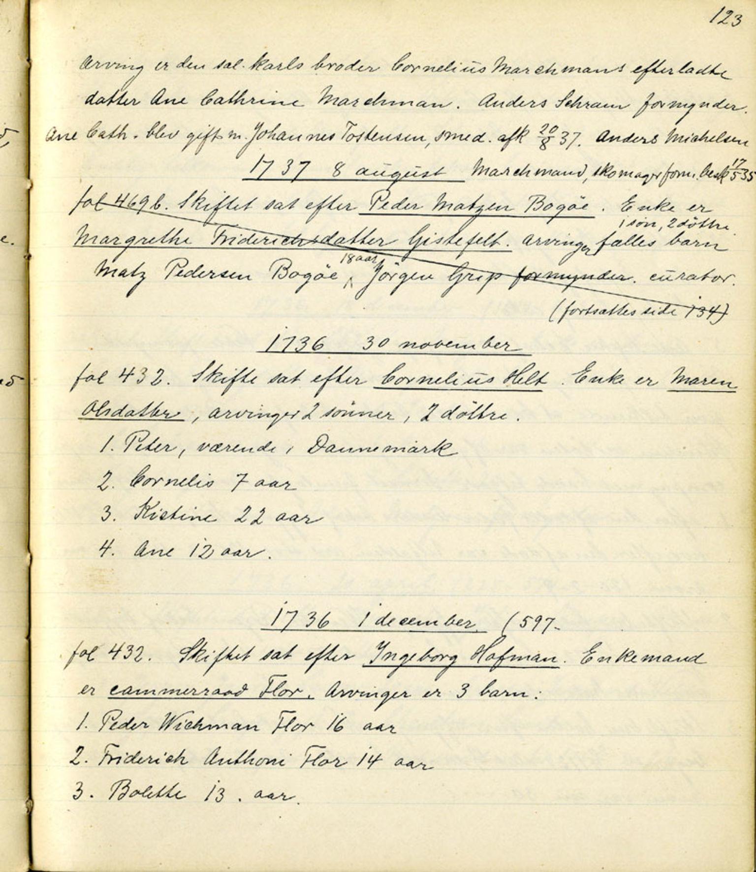 SAB, Sollied, Olaf og Thora - samlinger, 01/L0010: Skifte: Utdrag av skifteprotokoller, 1731-1740, s. 123