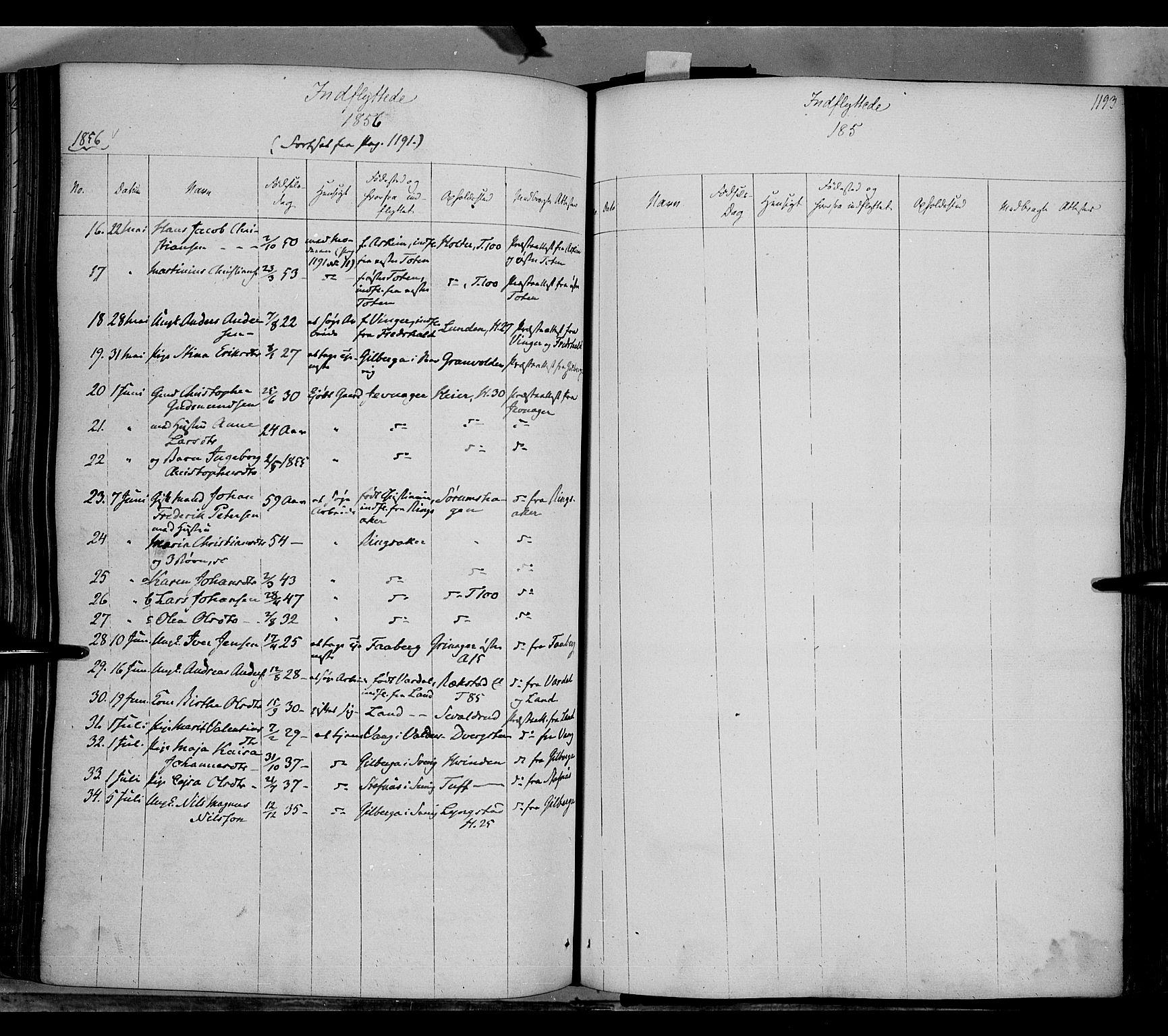 SAH, Gran prestekontor, Ministerialbok nr. 11, 1842-1856, s. 1192-1193