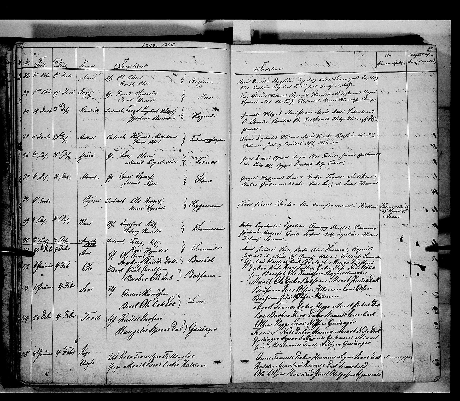 SAH, Nord-Aurdal prestekontor, Ministerialbok nr. 5, 1842-1863, s. 27