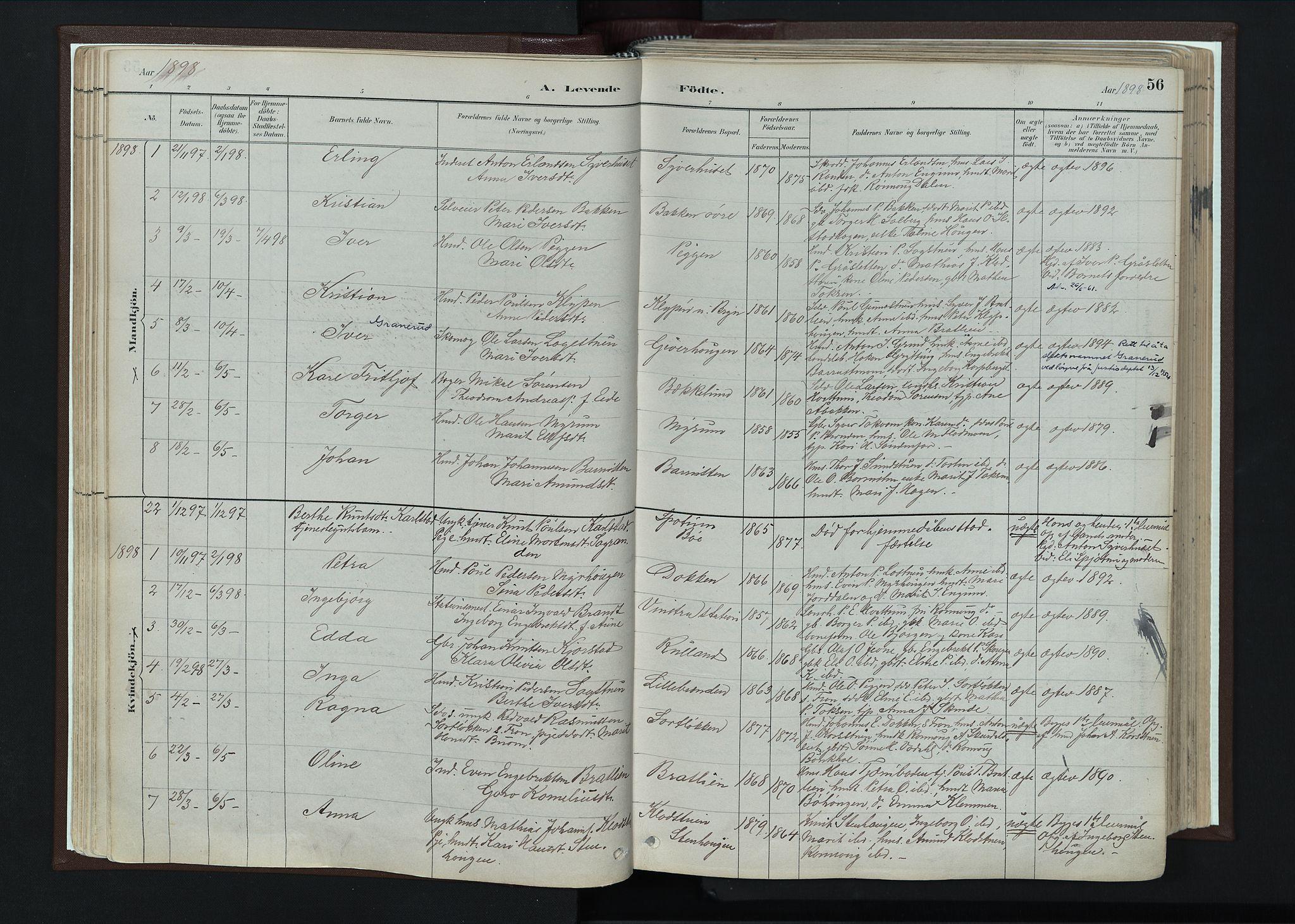 SAH, Nord-Fron prestekontor, Ministerialbok nr. 4, 1884-1914, s. 56