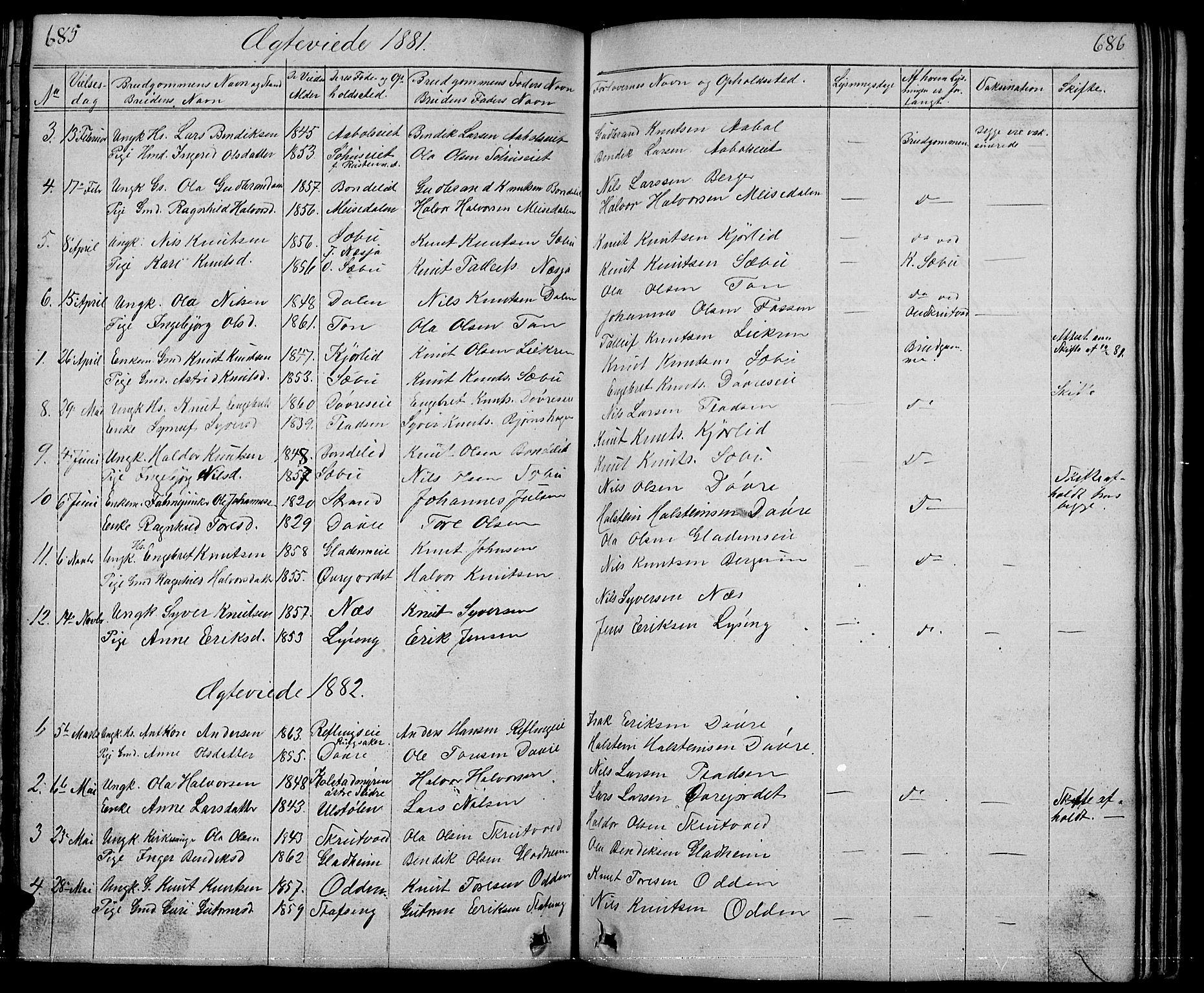 SAH, Nord-Aurdal prestekontor, Klokkerbok nr. 1, 1834-1887, s. 685-686