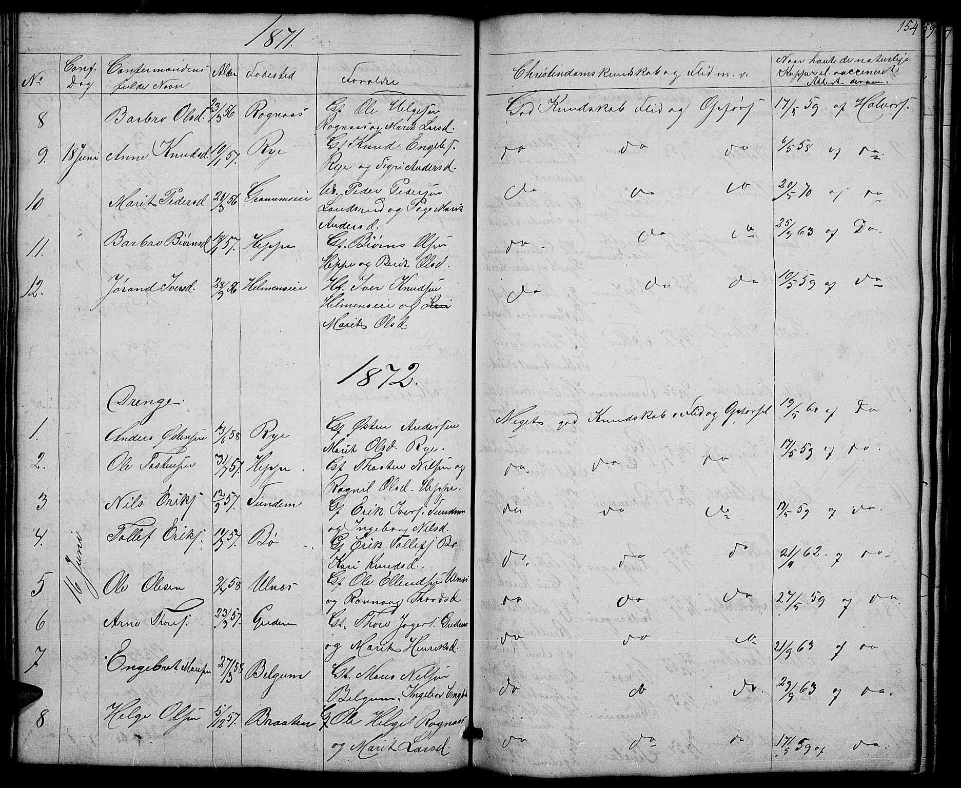 SAH, Nord-Aurdal prestekontor, Klokkerbok nr. 4, 1842-1882, s. 154