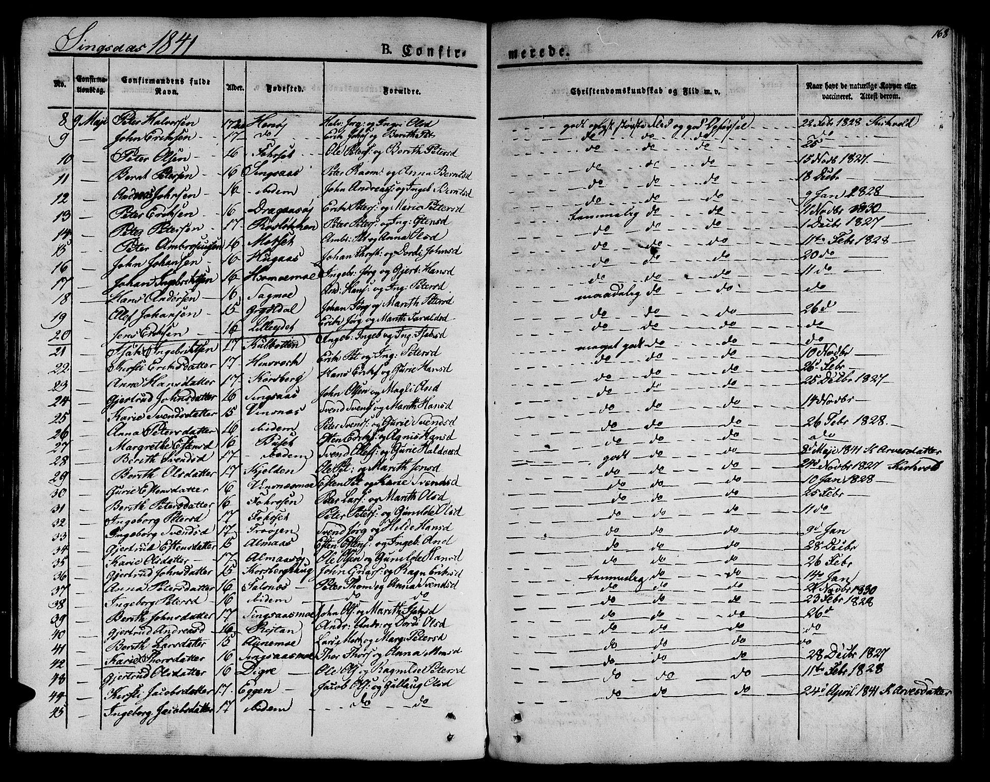 SAT, Ministerialprotokoller, klokkerbøker og fødselsregistre - Sør-Trøndelag, 685/L0958: Ministerialbok nr. 685A04 /2, 1829-1845, s. 168