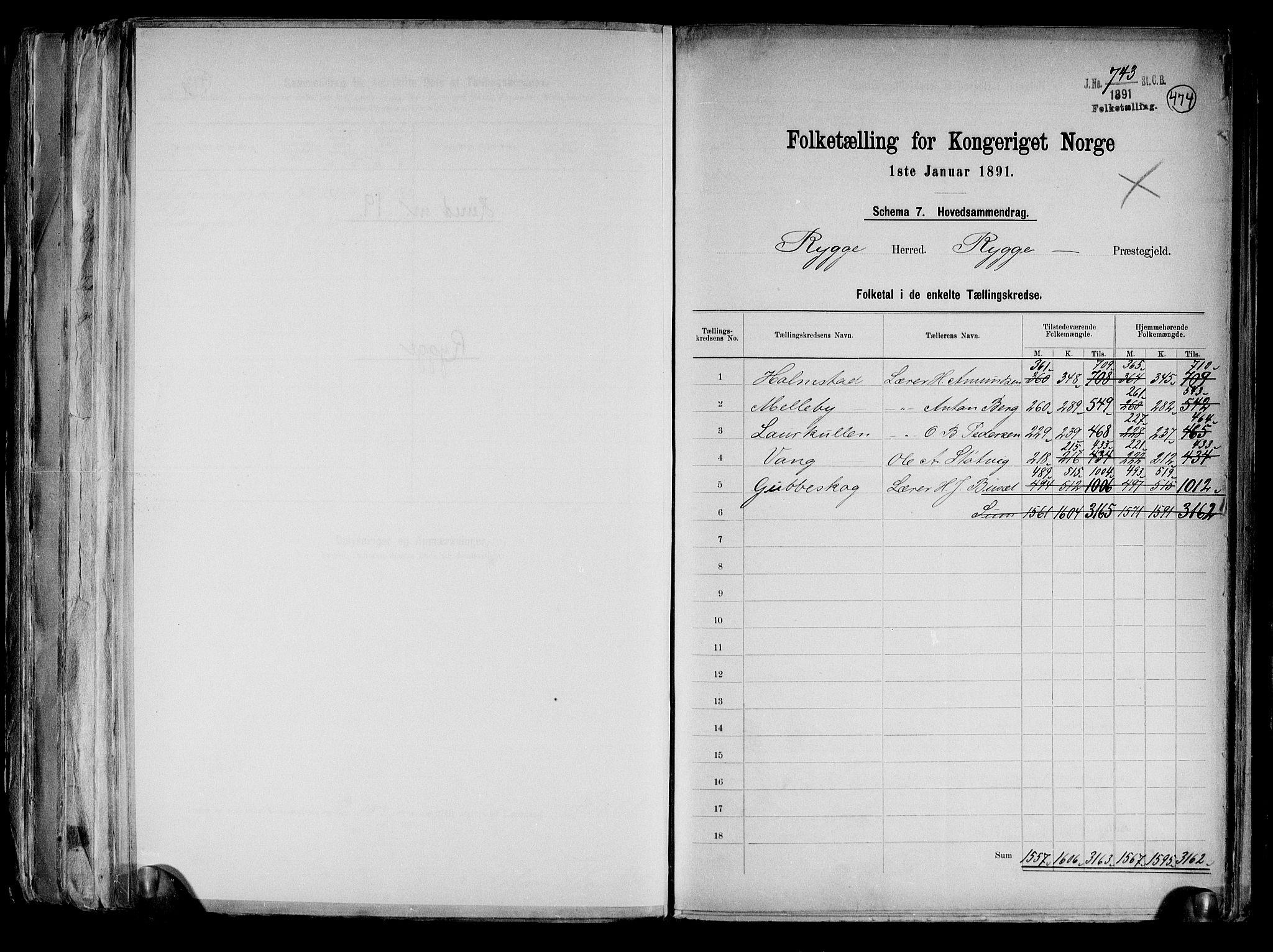 RA, Folketelling 1891 for 0136 Rygge herred, 1891, s. 2