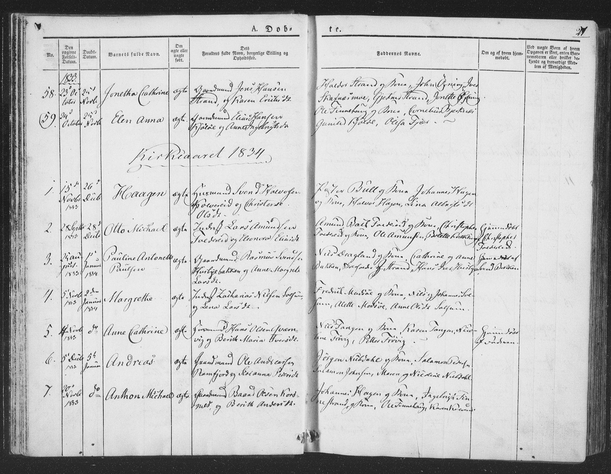 SAT, Ministerialprotokoller, klokkerbøker og fødselsregistre - Nord-Trøndelag, 780/L0639: Ministerialbok nr. 780A04, 1830-1844, s. 21