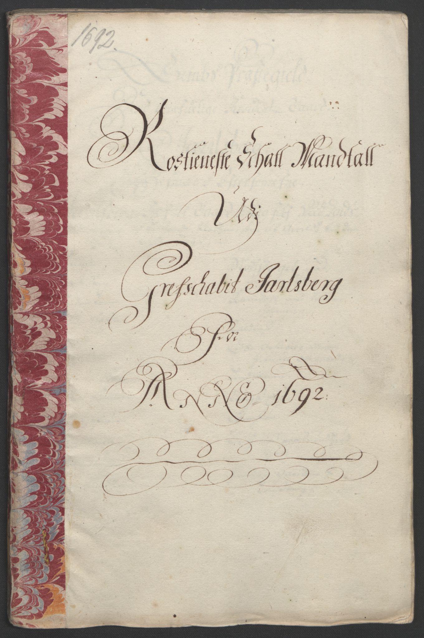 RA, Rentekammeret inntil 1814, Reviderte regnskaper, Fogderegnskap, R32/L1865: Fogderegnskap Jarlsberg grevskap, 1692, s. 295