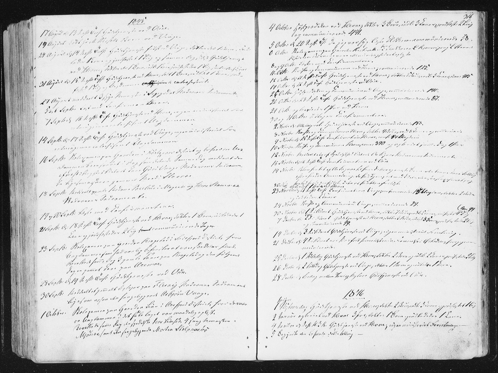 SAT, Ministerialprotokoller, klokkerbøker og fødselsregistre - Sør-Trøndelag, 630/L0493: Ministerialbok nr. 630A06, 1841-1851, s. 316
