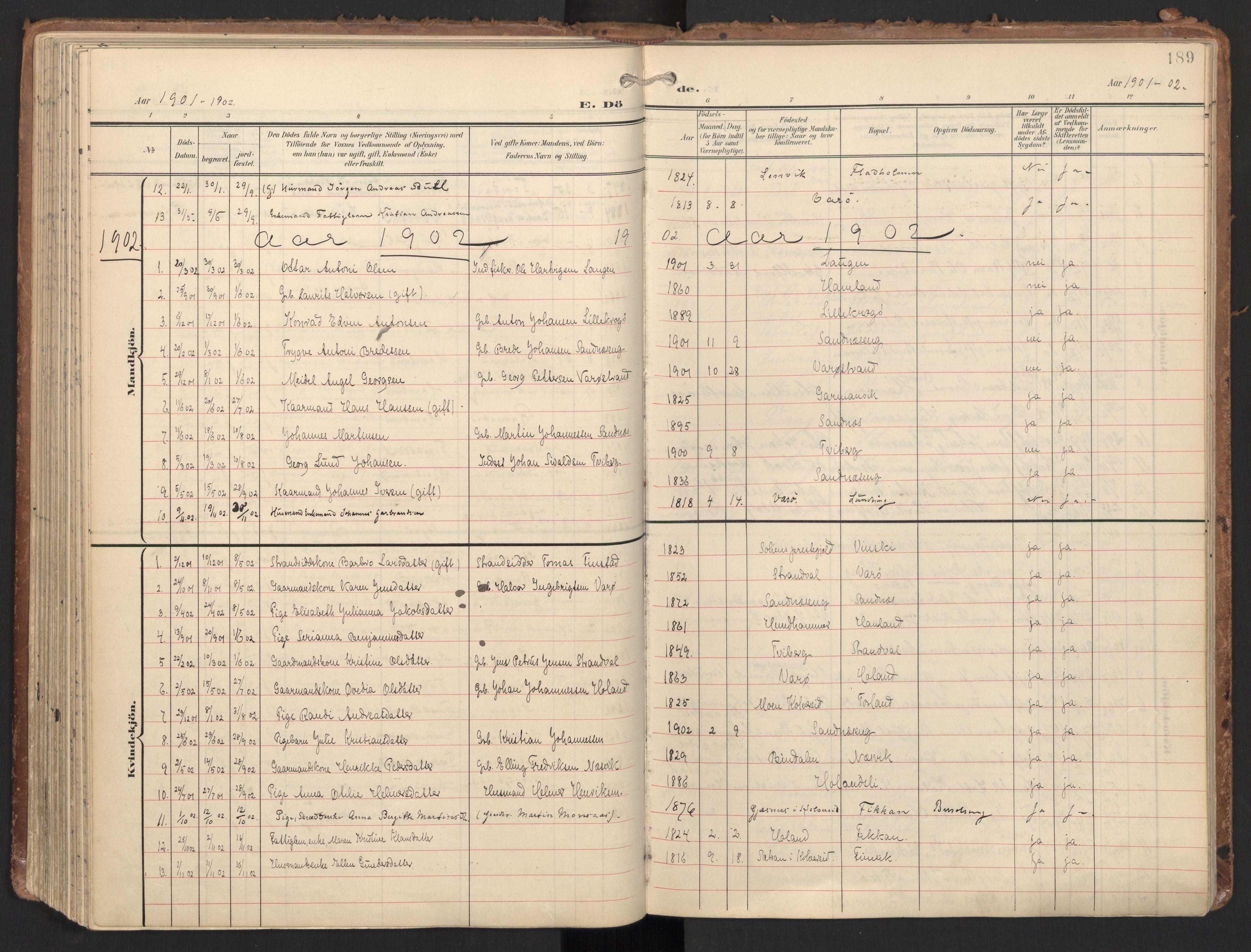 SAT, Ministerialprotokoller, klokkerbøker og fødselsregistre - Nord-Trøndelag, 784/L0677: Ministerialbok nr. 784A12, 1900-1920, s. 189