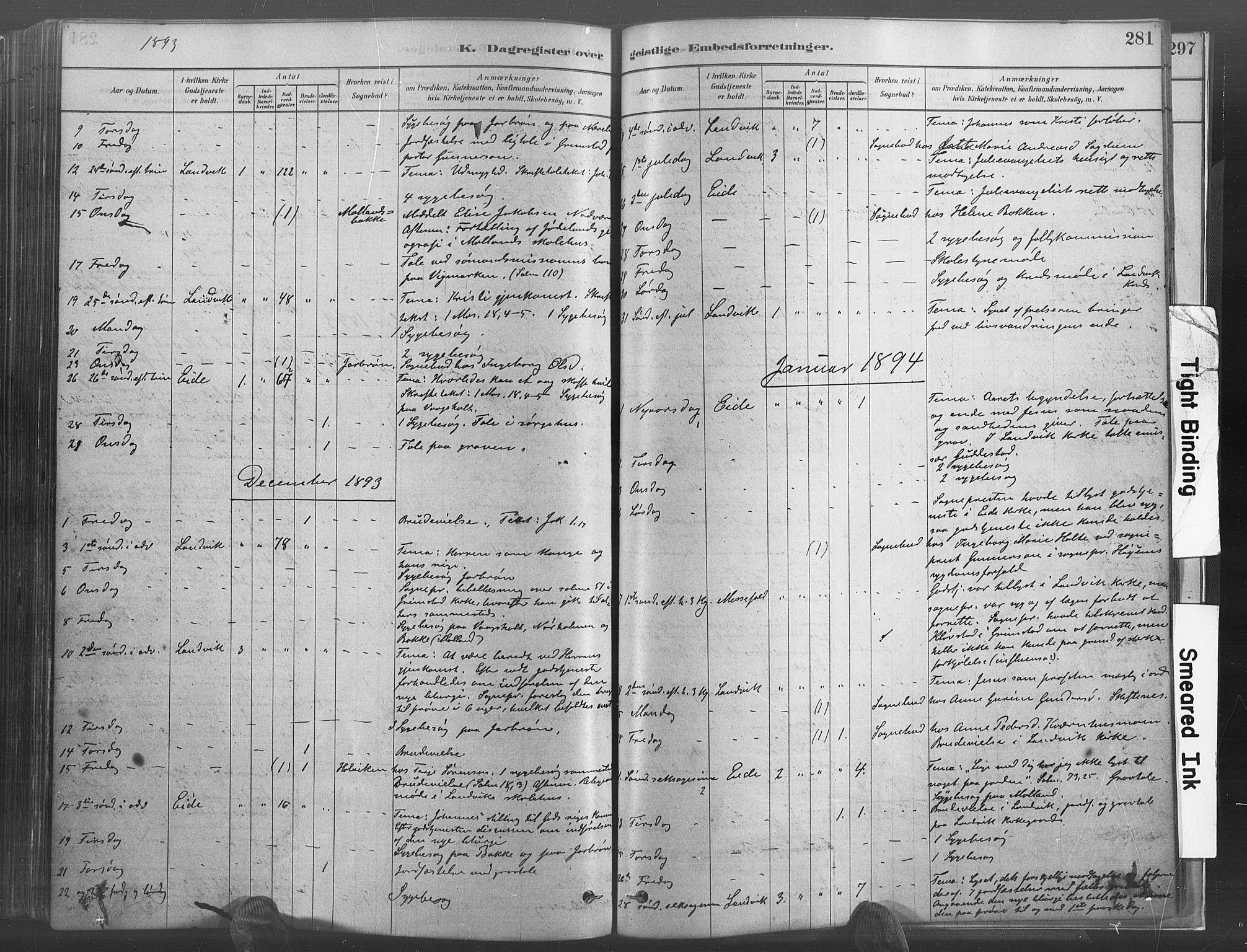 SAK, Hommedal sokneprestkontor, F/Fa/Fab/L0006: Ministerialbok nr. A 6, 1878-1897, s. 281