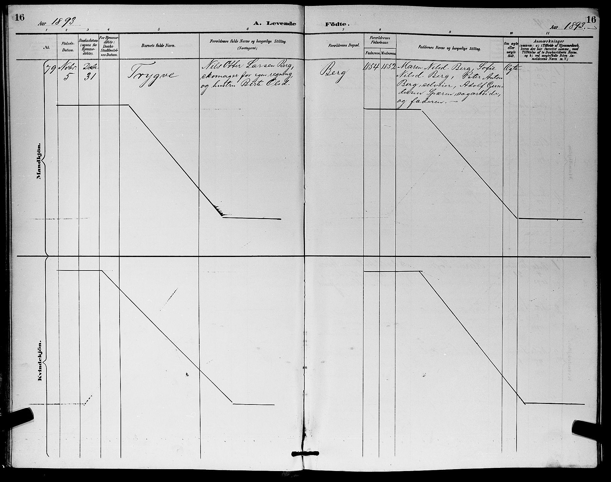 SAKO, Eiker kirkebøker, G/Ga/L0007: Klokkerbok nr. I 7, 1893-1902, s. 16
