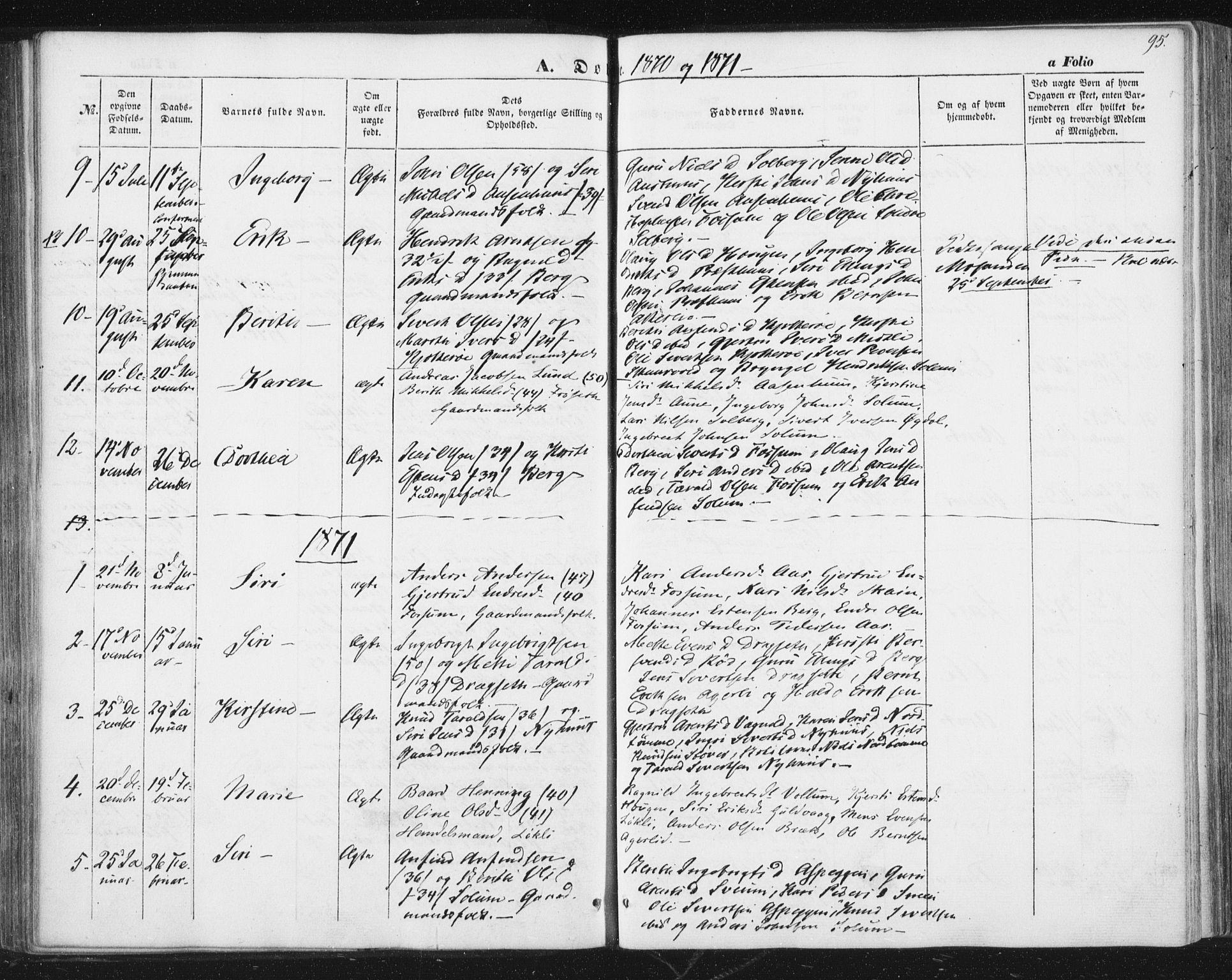 SAT, Ministerialprotokoller, klokkerbøker og fødselsregistre - Sør-Trøndelag, 689/L1038: Ministerialbok nr. 689A03, 1848-1872, s. 95