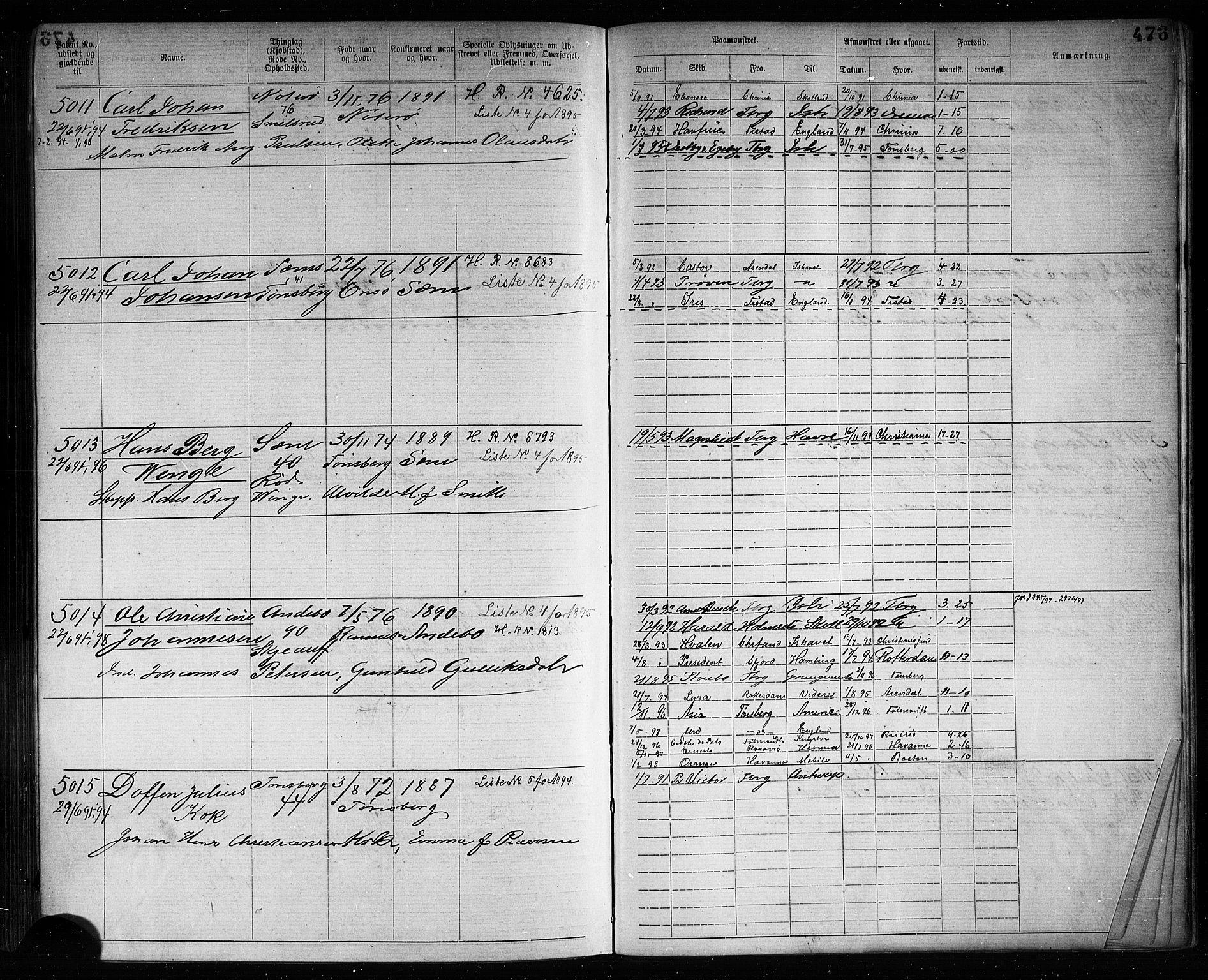 SAKO, Tønsberg innrulleringskontor, F/Fb/L0007: Annotasjonsrulle Patent nr. 2636-5150, 1881-1892, s. 478
