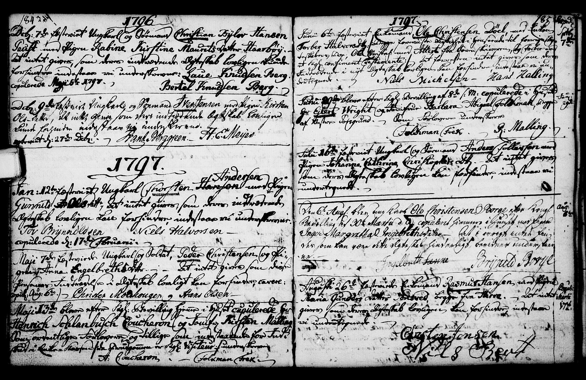 SAKO, Porsgrunn kirkebøker , F/Fa/L0003: Ministerialbok nr. 3, 1764-1814, s. 184-185