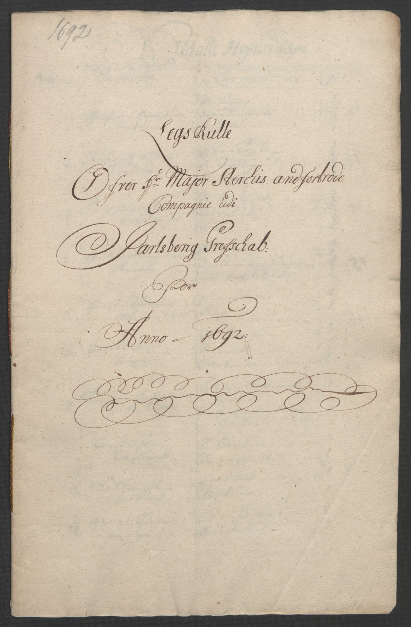 RA, Rentekammeret inntil 1814, Reviderte regnskaper, Fogderegnskap, R32/L1865: Fogderegnskap Jarlsberg grevskap, 1692, s. 207