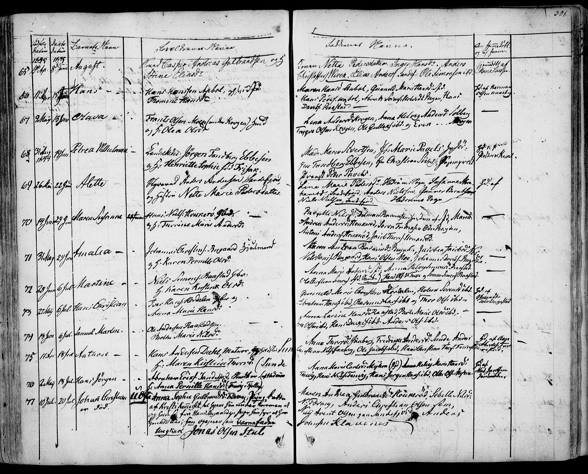 SAKO, Sandar kirkebøker, F/Fa/L0005: Ministerialbok nr. 5, 1832-1847, s. 300-301