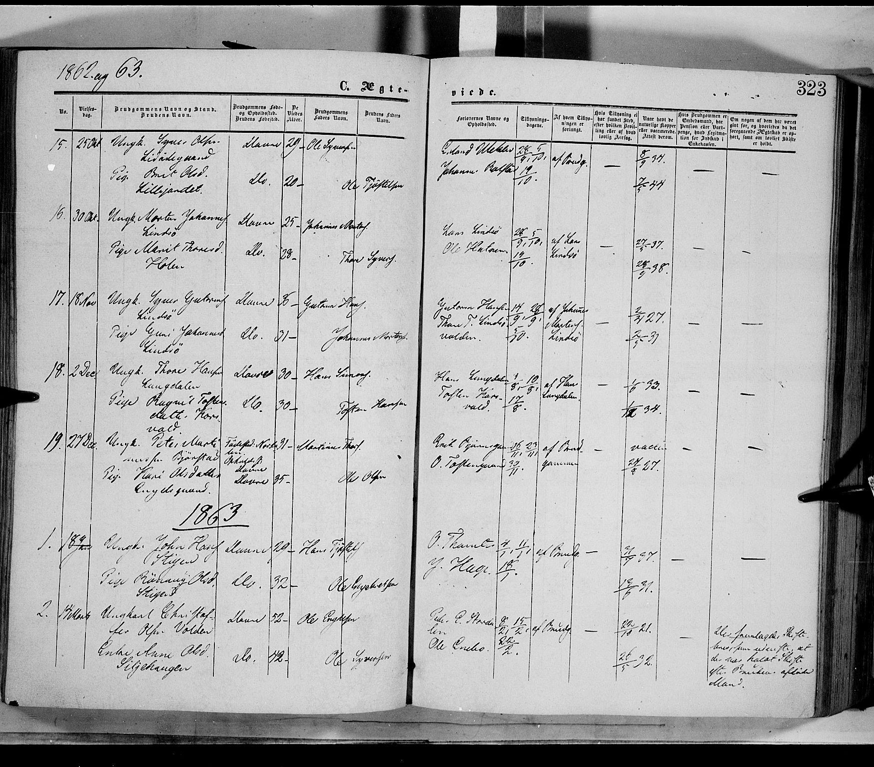 SAH, Dovre prestekontor, Ministerialbok nr. 1, 1854-1878, s. 323