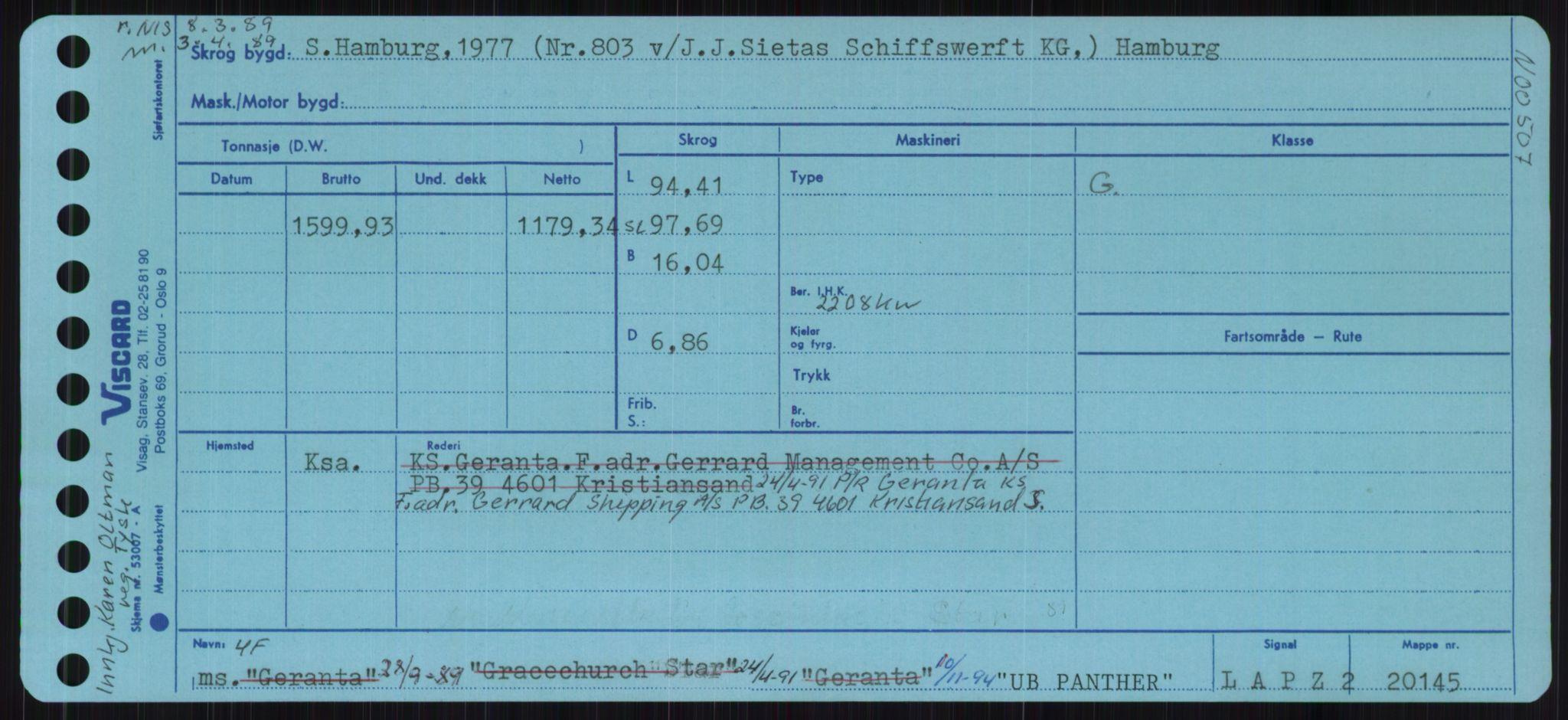 RA, Sjøfartsdirektoratet med forløpere, Skipsmålingen, H/Ha/L0006: Fartøy, s. 1