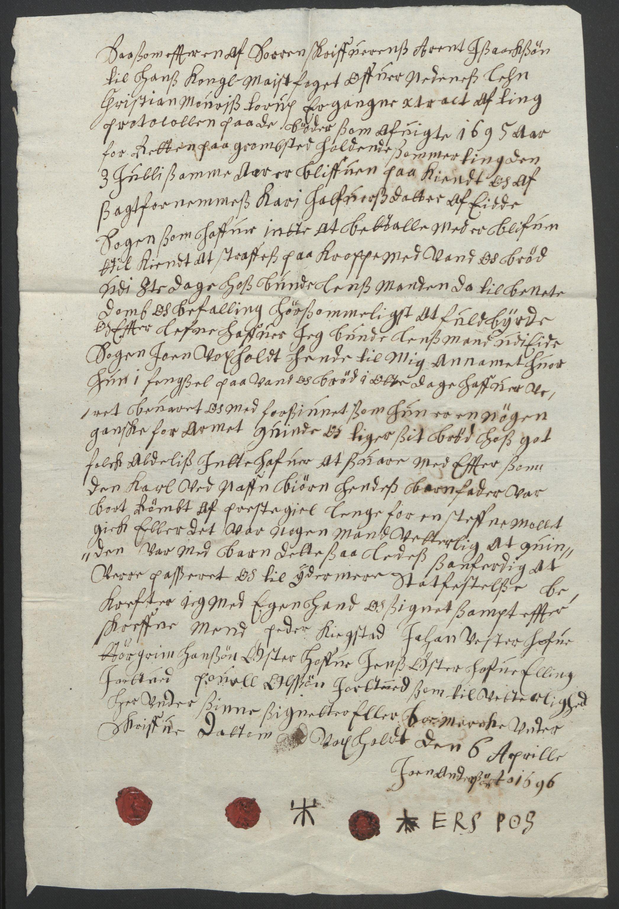 RA, Rentekammeret inntil 1814, Reviderte regnskaper, Fogderegnskap, R39/L2312: Fogderegnskap Nedenes, 1693-1695, s. 289