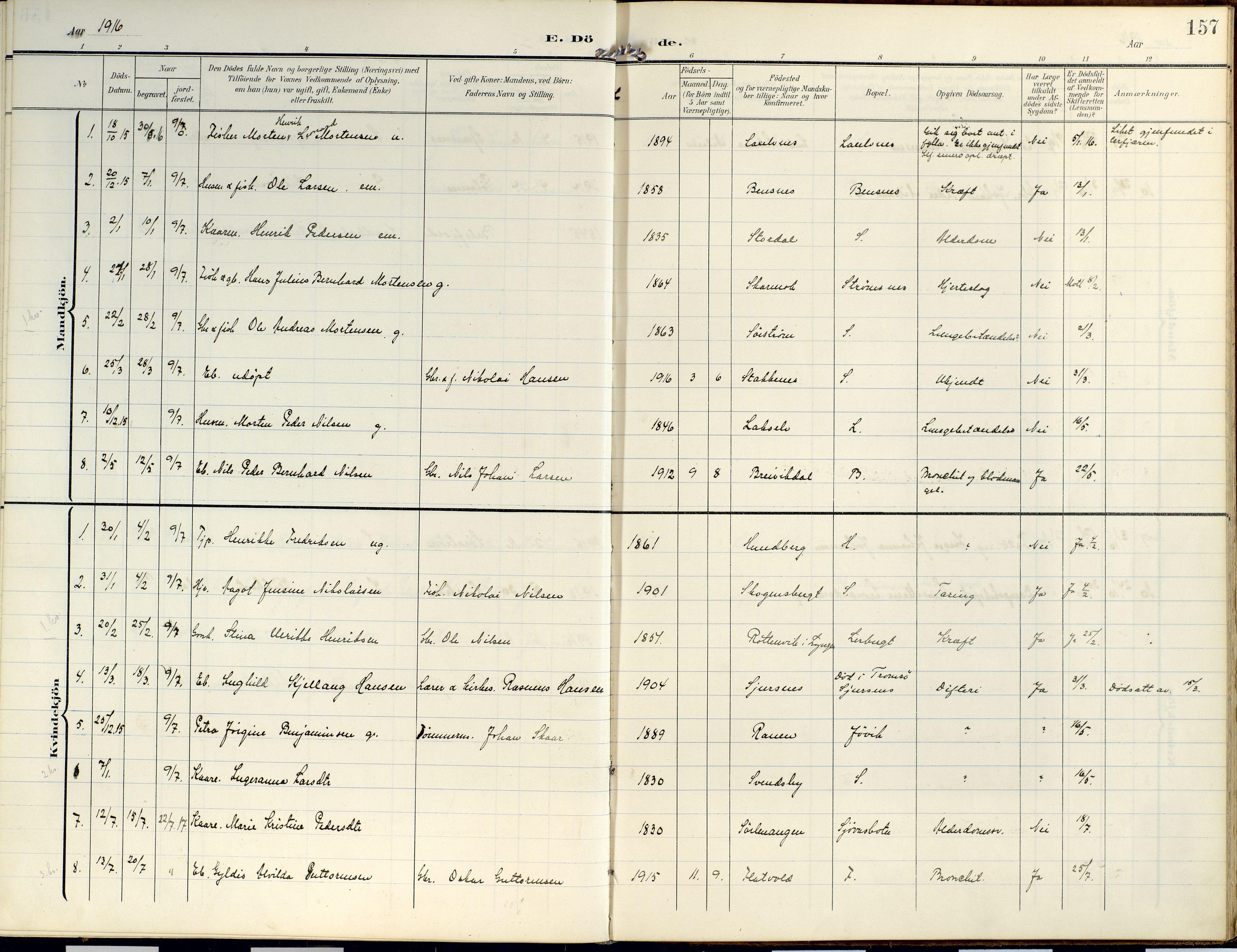 SATØ, Lyngen sokneprestembete, Ministerialbok nr. 14, 1905-1920, s. 157