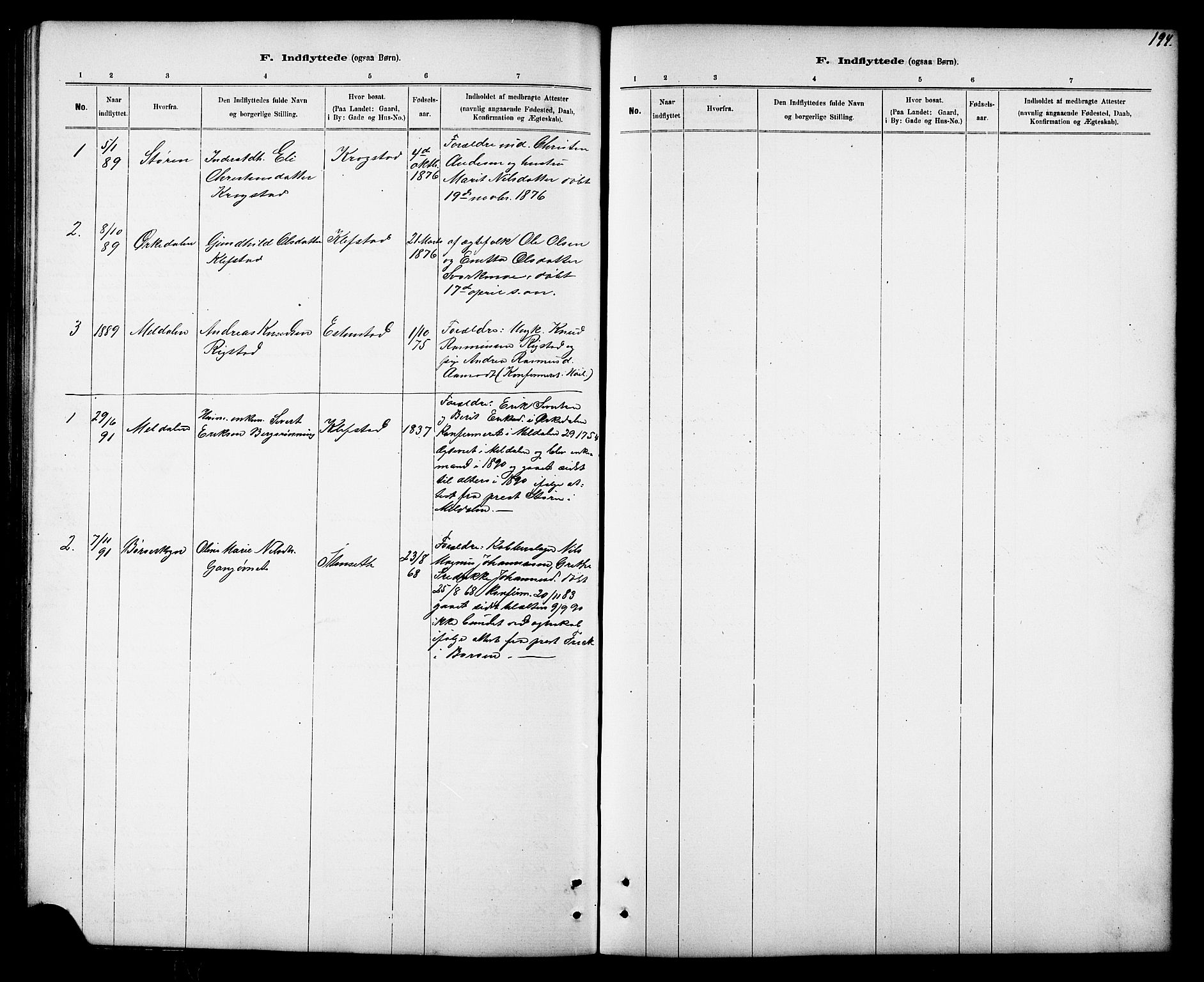 SAT, Ministerialprotokoller, klokkerbøker og fødselsregistre - Sør-Trøndelag, 694/L1132: Klokkerbok nr. 694C04, 1887-1914, s. 194