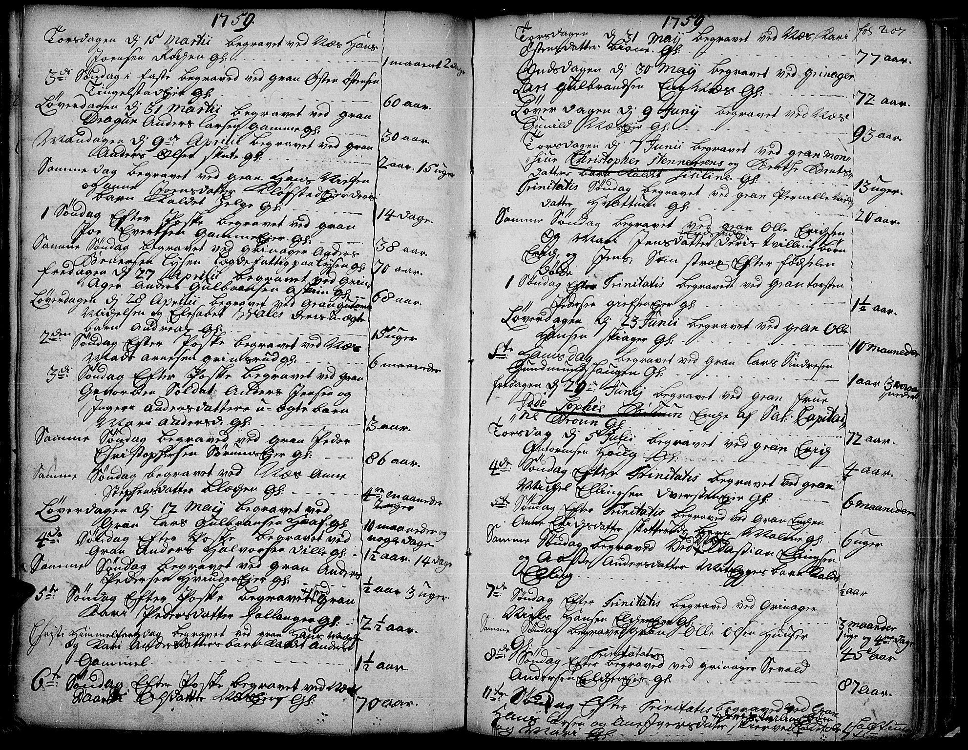 SAH, Gran prestekontor, Ministerialbok nr. 4, 1759-1775, s. 207