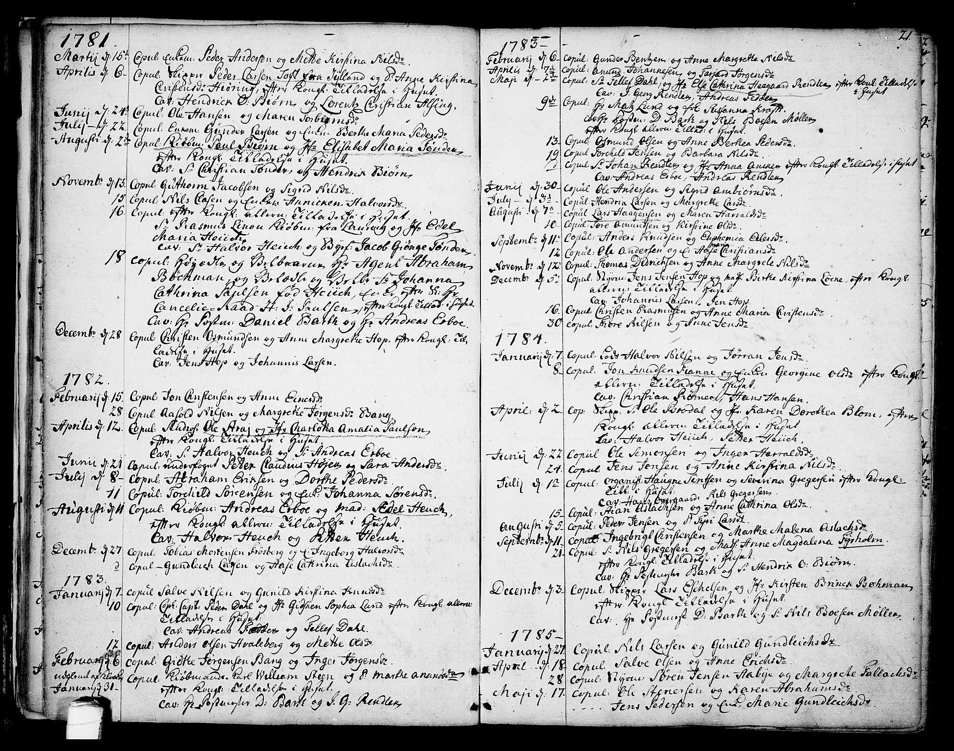 SAKO, Kragerø kirkebøker, F/Fa/L0002: Ministerialbok nr. 2, 1767-1802, s. 21