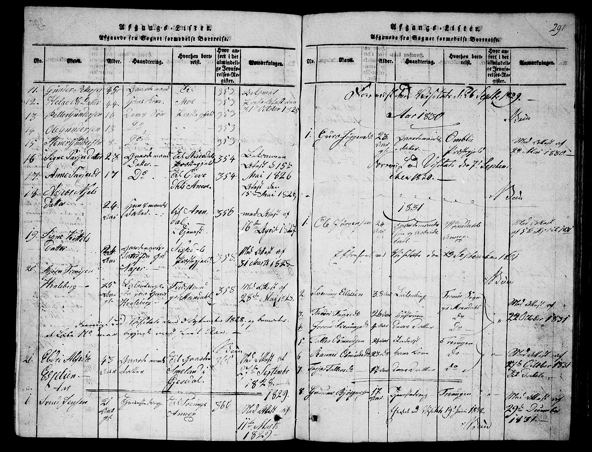 SAKO, Fyresdal kirkebøker, G/Ga/L0001: Klokkerbok nr. I 1, 1816-1840, s. 291