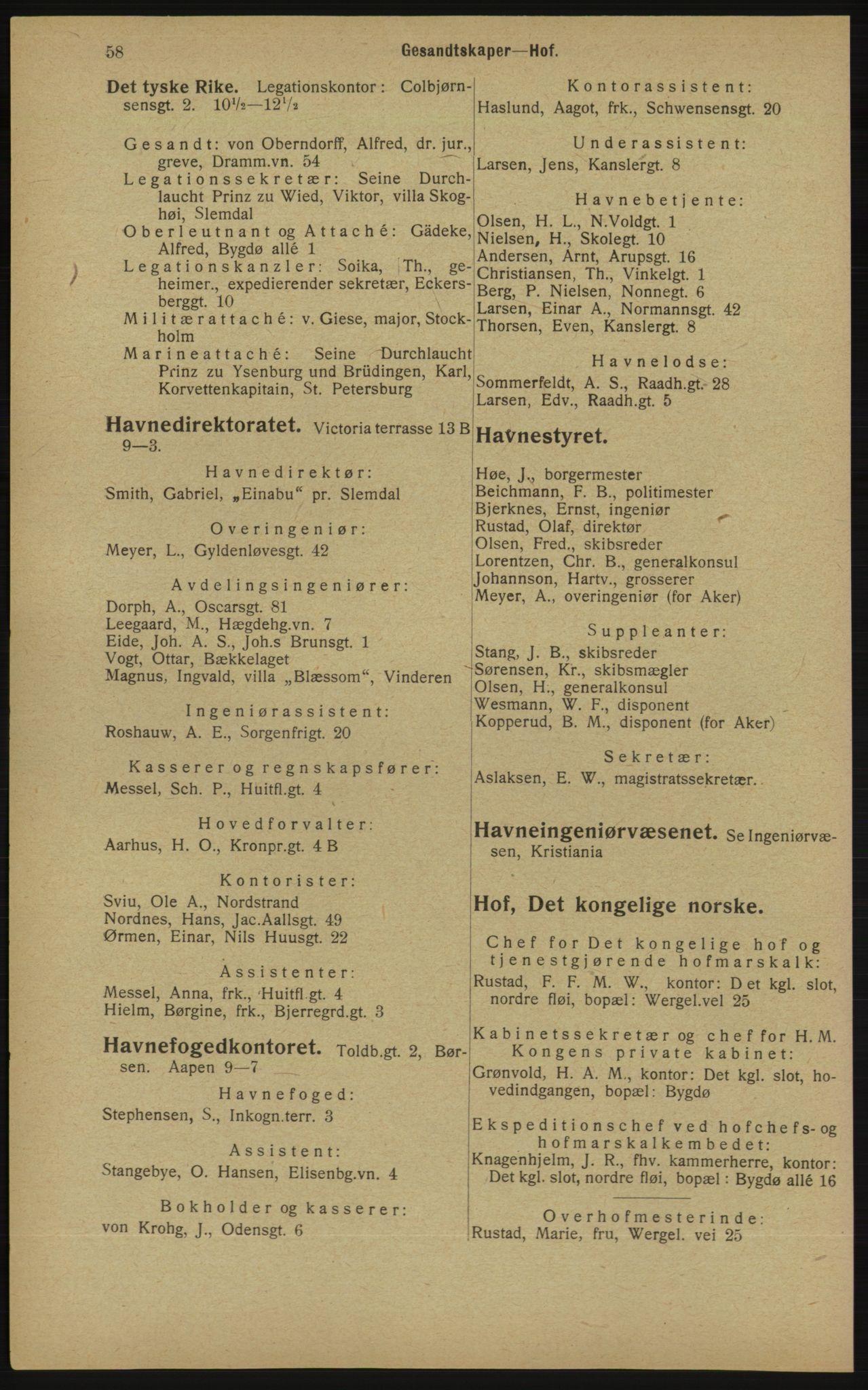 RA, Kristiania adressebok (publikasjon)*, 1913, s. 58
