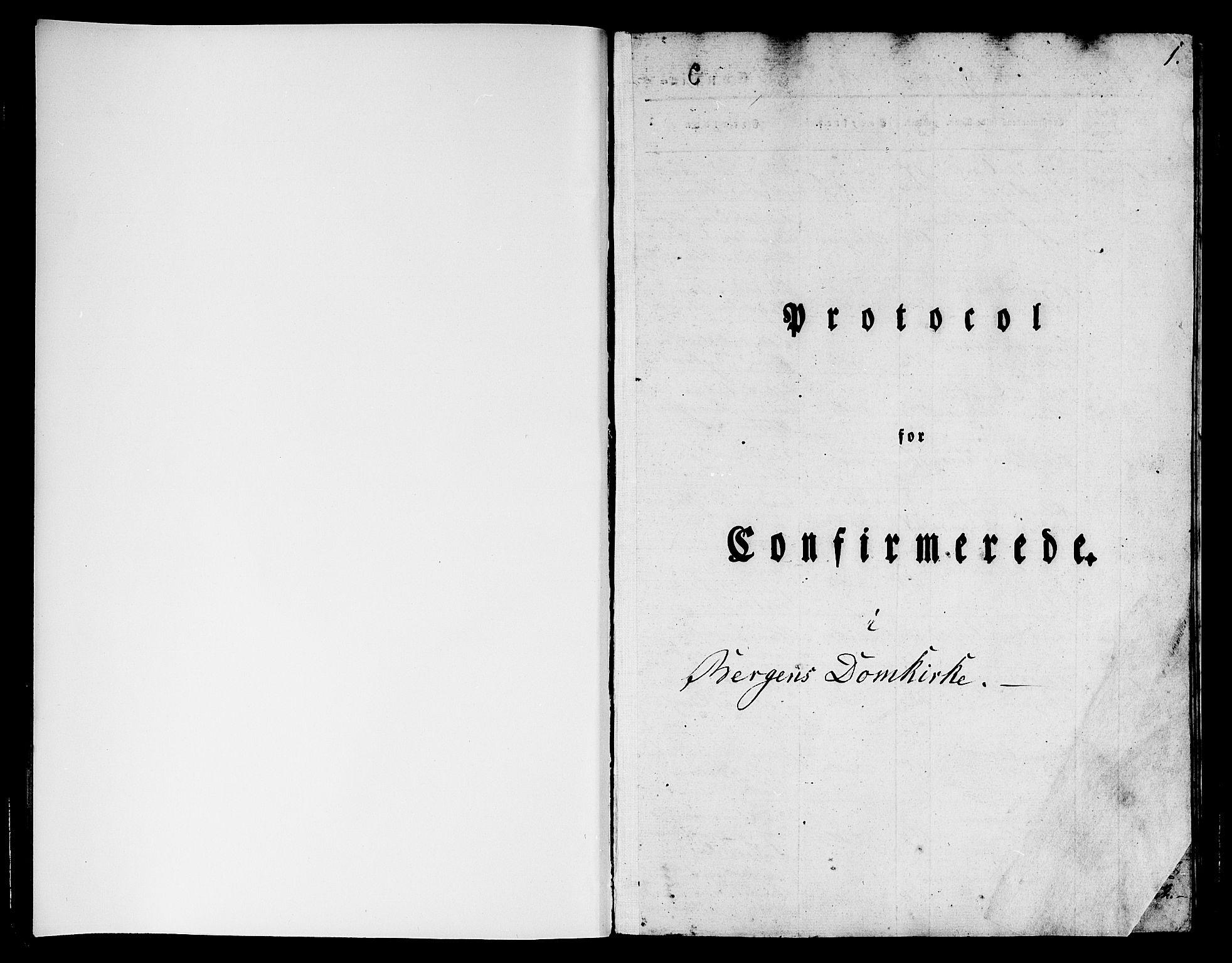 SAB, Domkirken Sokneprestembete, H/Hab/L0022: Klokkerbok nr. C 2, 1839-1854, s. 1