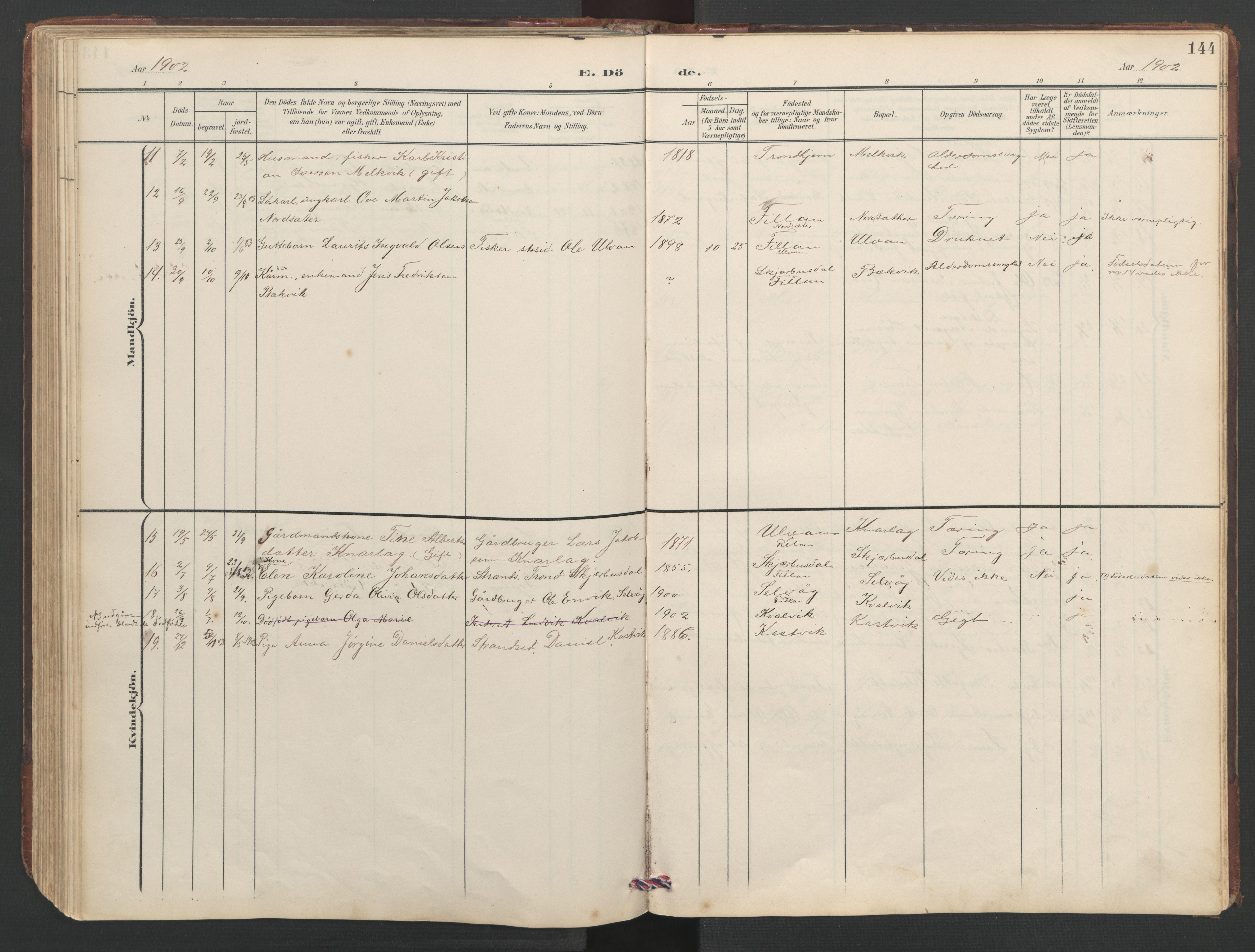 SAT, Ministerialprotokoller, klokkerbøker og fødselsregistre - Sør-Trøndelag, 638/L0571: Klokkerbok nr. 638C03, 1901-1930, s. 144