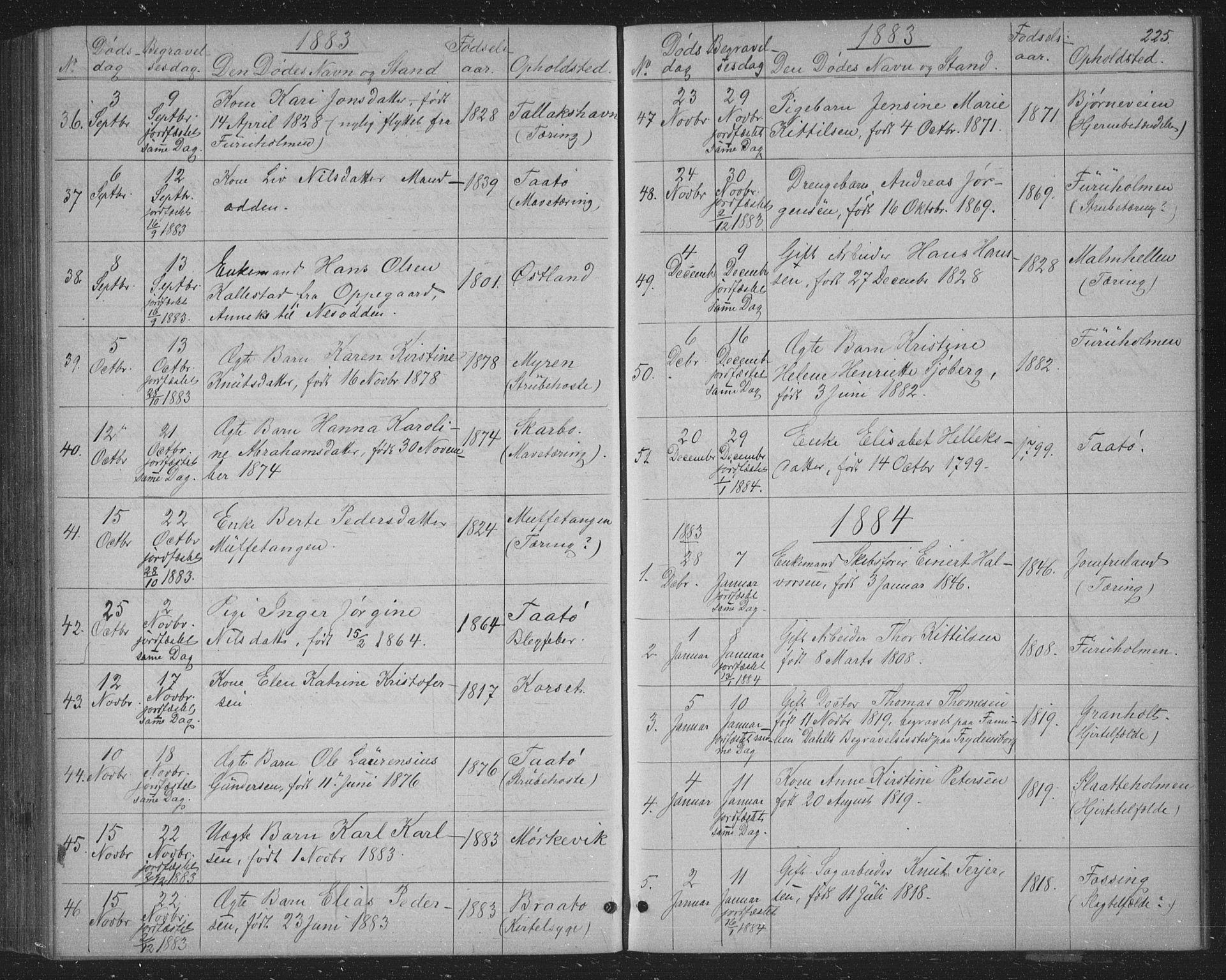 SAKO, Skåtøy kirkebøker, G/Ga/L0002: Klokkerbok nr. I 2, 1872-1884, s. 225