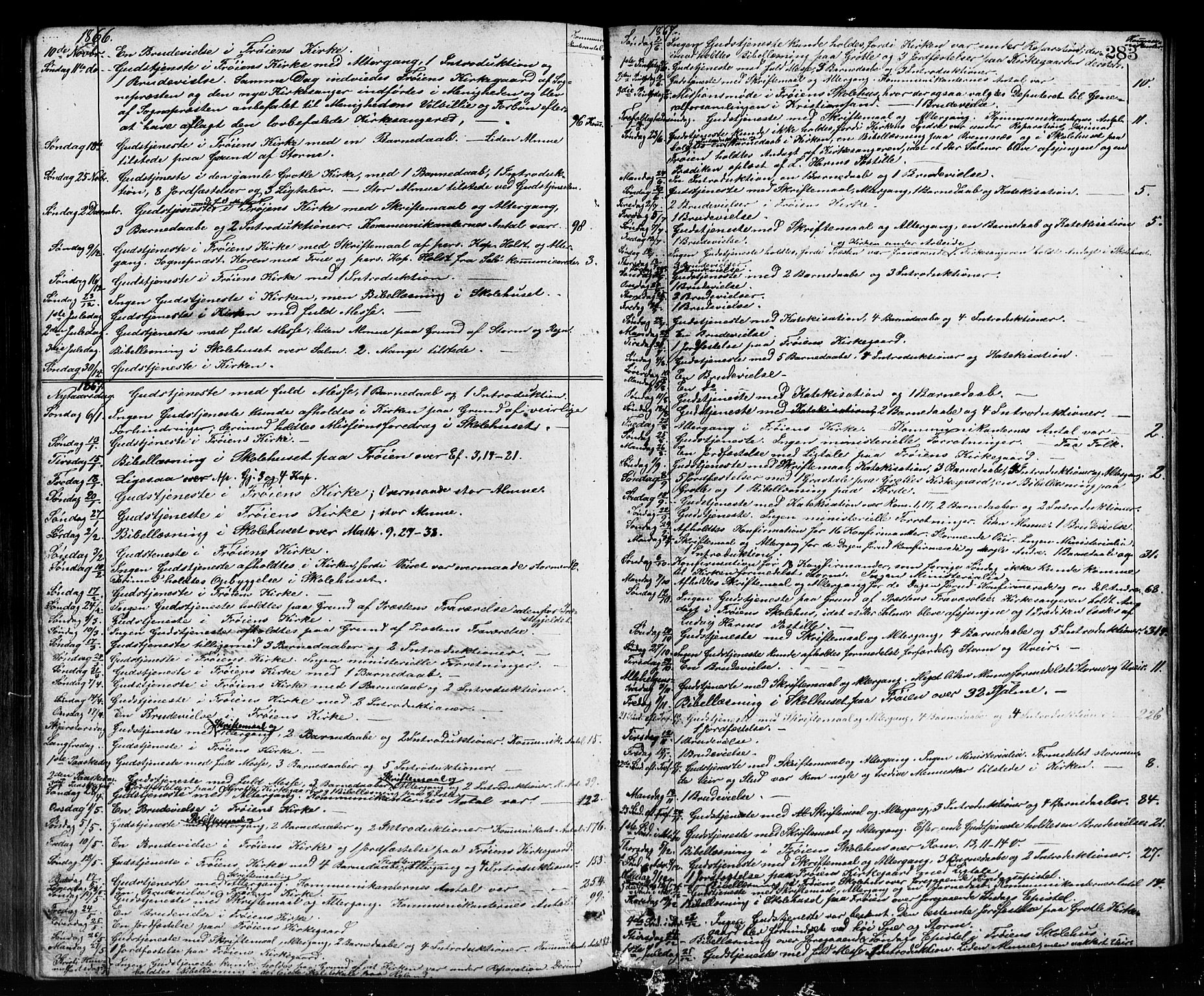 SAB, Bremanger Sokneprestembete, H/Hab: Klokkerbok nr. A 2, 1866-1889, s. 283