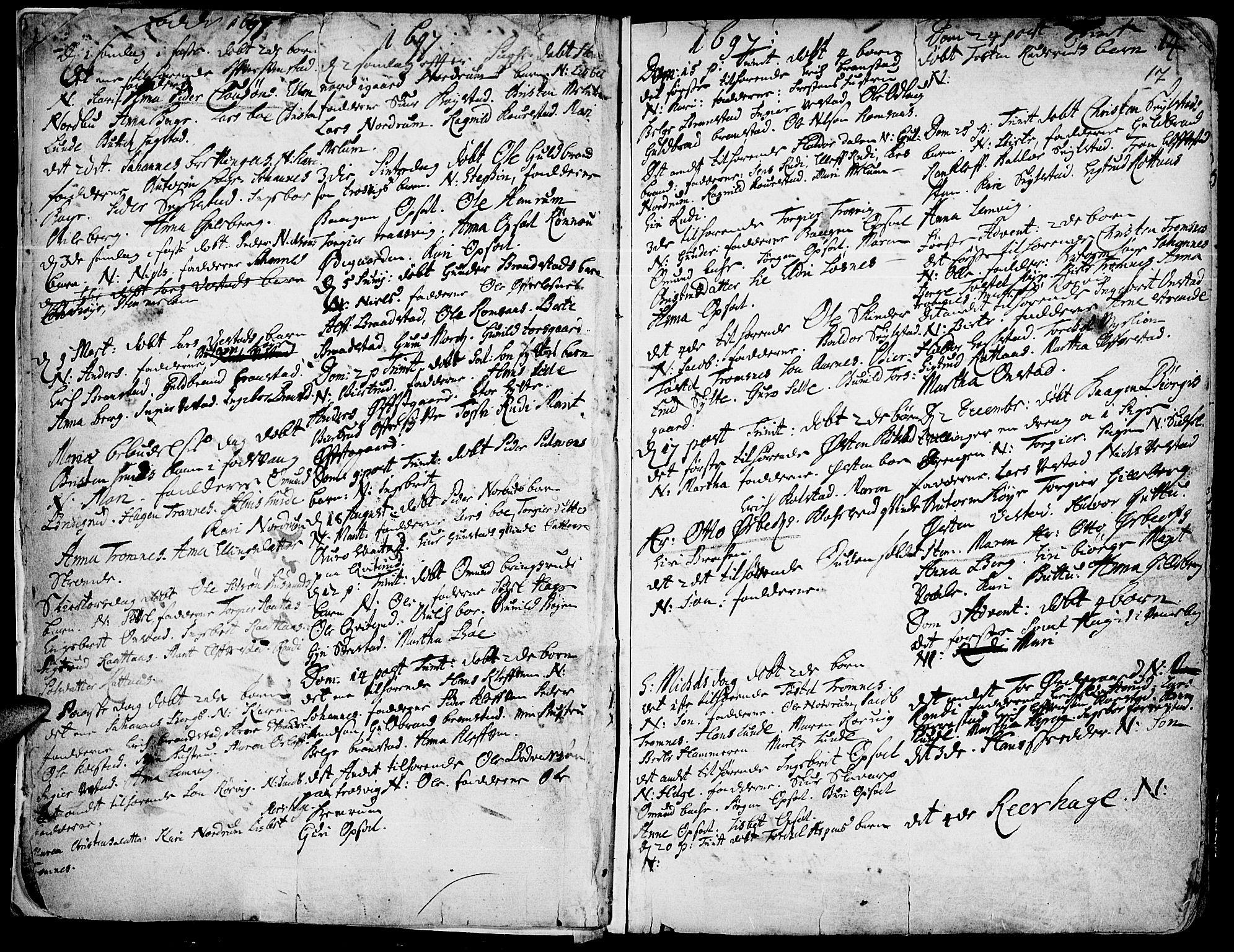 SAH, Ringebu prestekontor, Ministerialbok nr. 1, 1696-1733, s. 16-17
