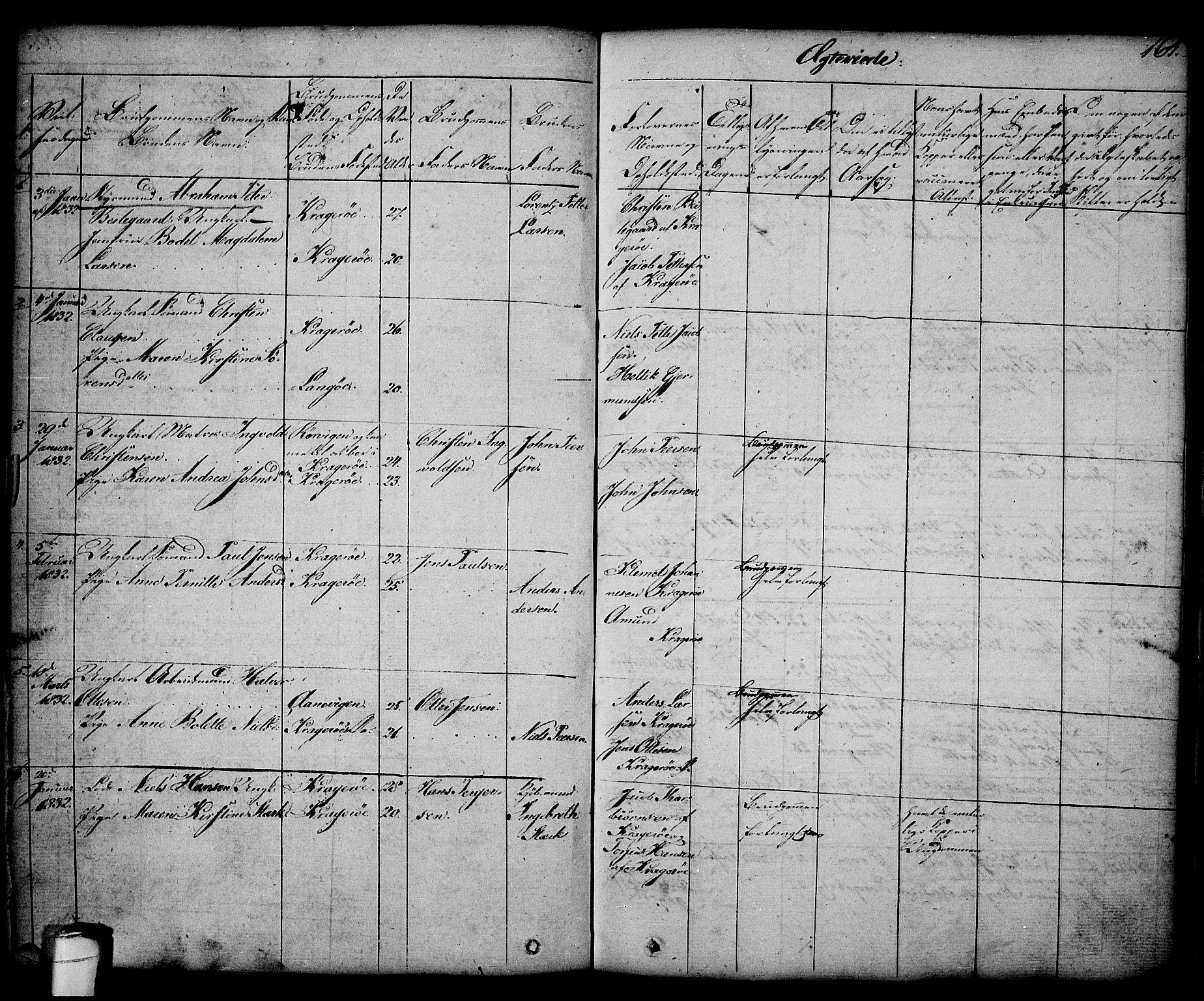 SAKO, Kragerø kirkebøker, G/Ga/L0003: Klokkerbok nr. 3, 1832-1852, s. 164
