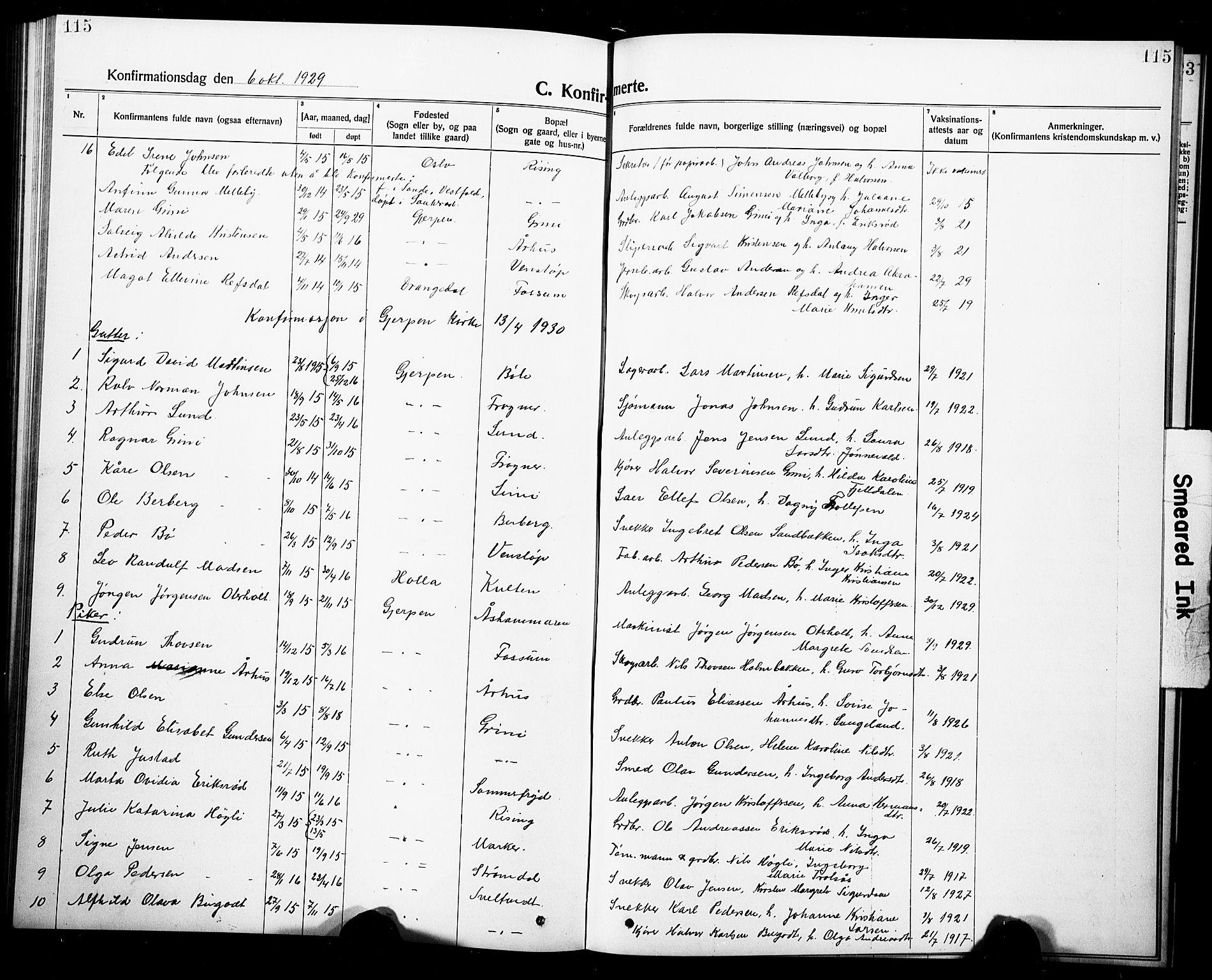 SAKO, Gjerpen kirkebøker, G/Ga/L0004: Klokkerbok nr. I 4, 1920-1931, s. 115