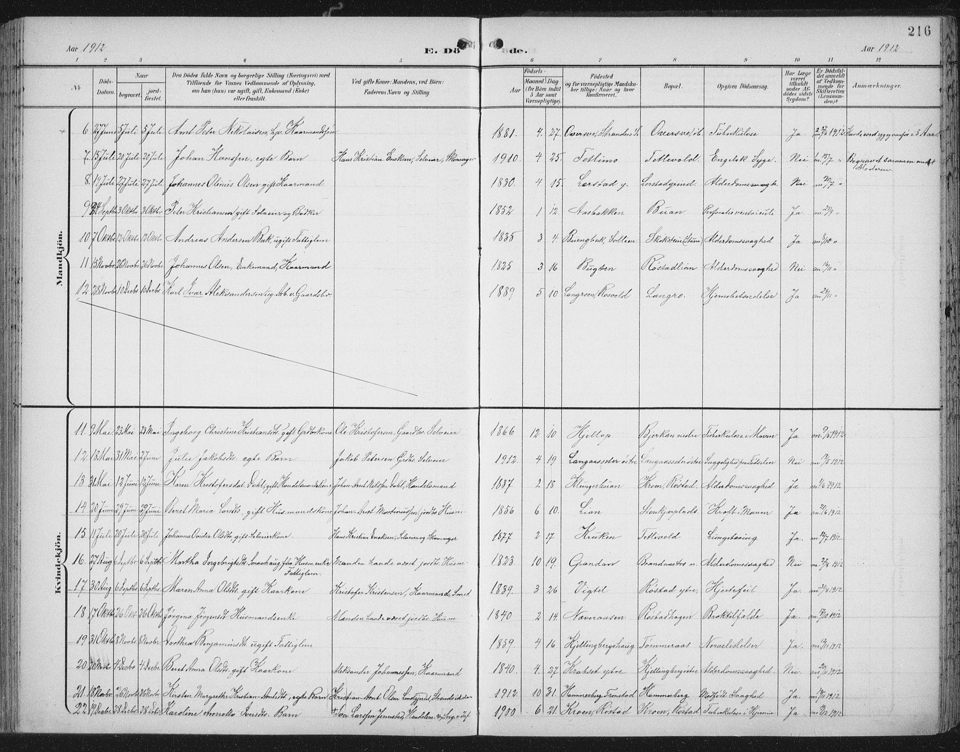 SAT, Ministerialprotokoller, klokkerbøker og fødselsregistre - Nord-Trøndelag, 701/L0011: Ministerialbok nr. 701A11, 1899-1915, s. 216