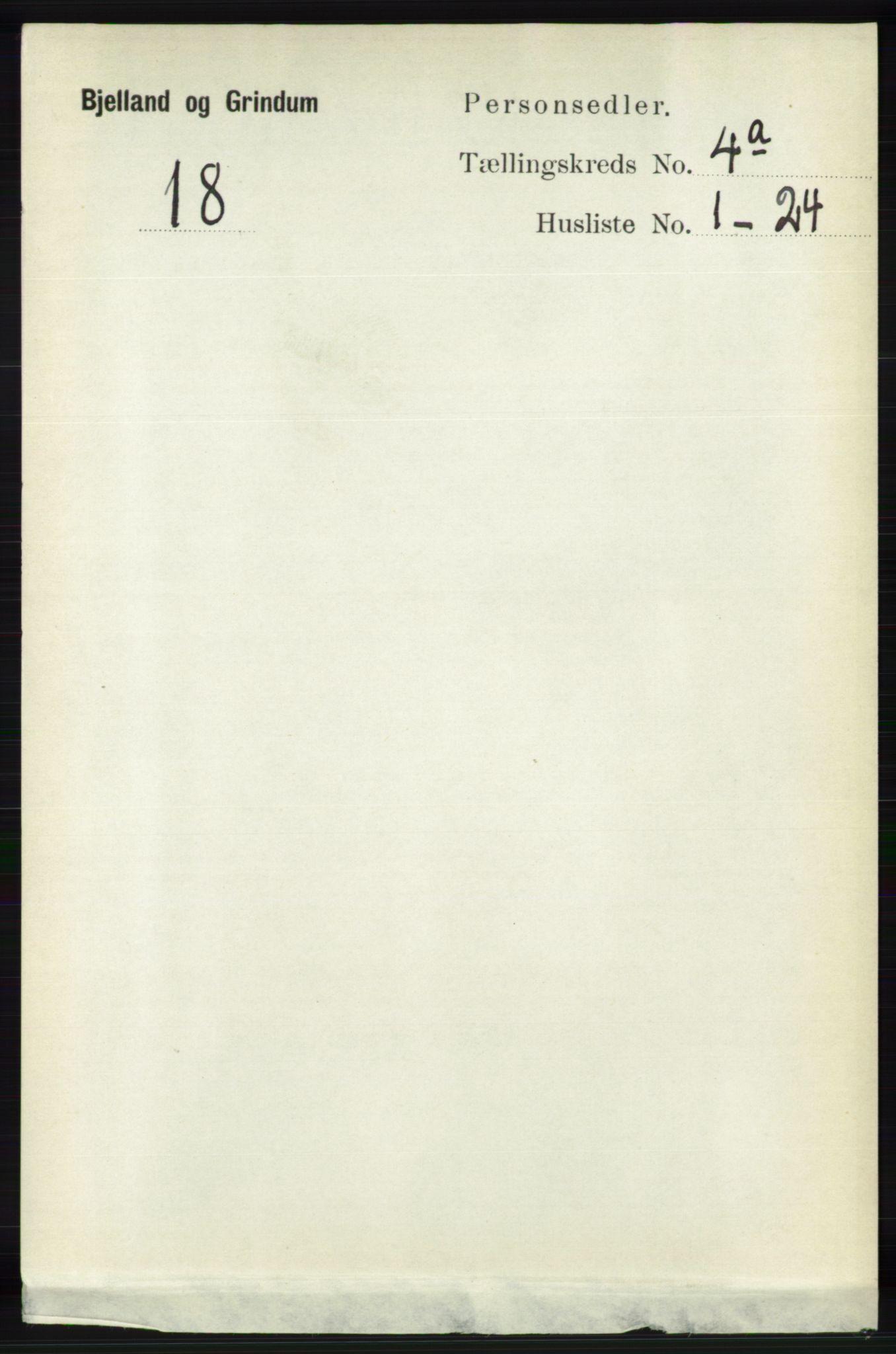 RA, Folketelling 1891 for 1024 Bjelland og Grindheim herred, 1891, s. 2080