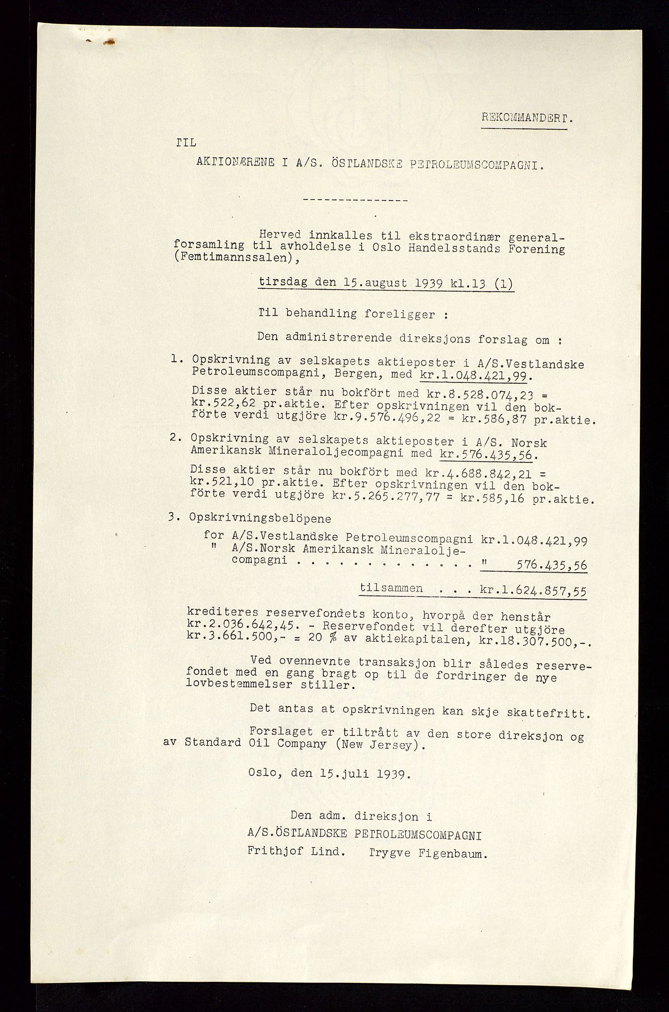 SAST, PA 1534 - Østlandske Petroleumscompagni A/S, A/Aa/L0002: Generalforsamlinger., 1939, s. 2