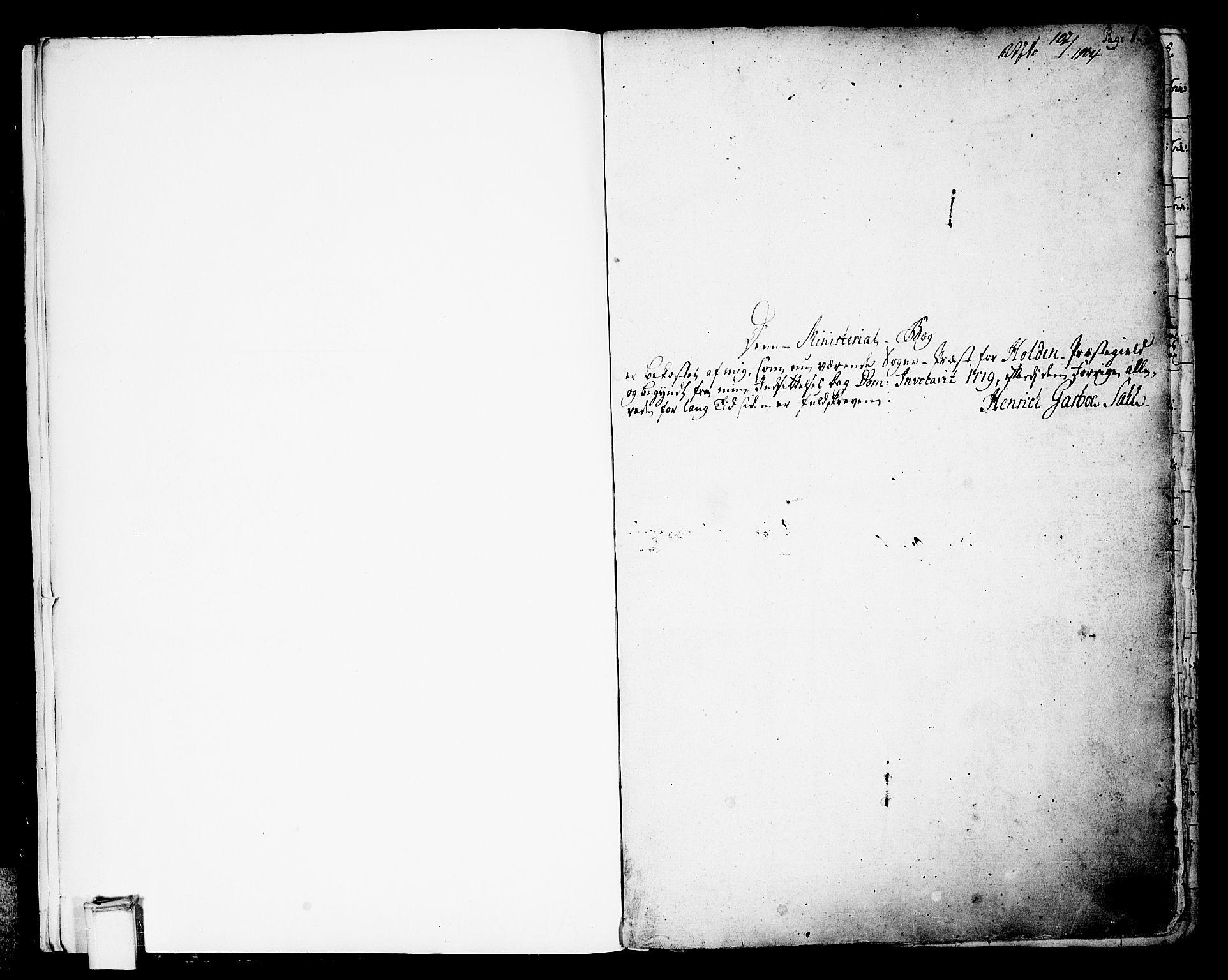 SAKO, Holla kirkebøker, F/Fa/L0002: Ministerialbok nr. 2, 1779-1814, s. 1