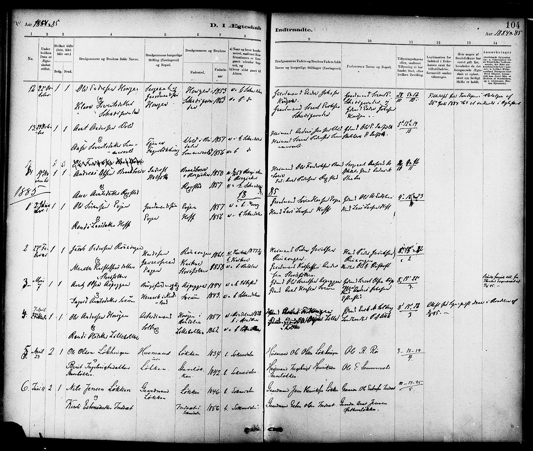 SAT, Ministerialprotokoller, klokkerbøker og fødselsregistre - Sør-Trøndelag, 689/L1040: Ministerialbok nr. 689A05, 1878-1890, s. 104