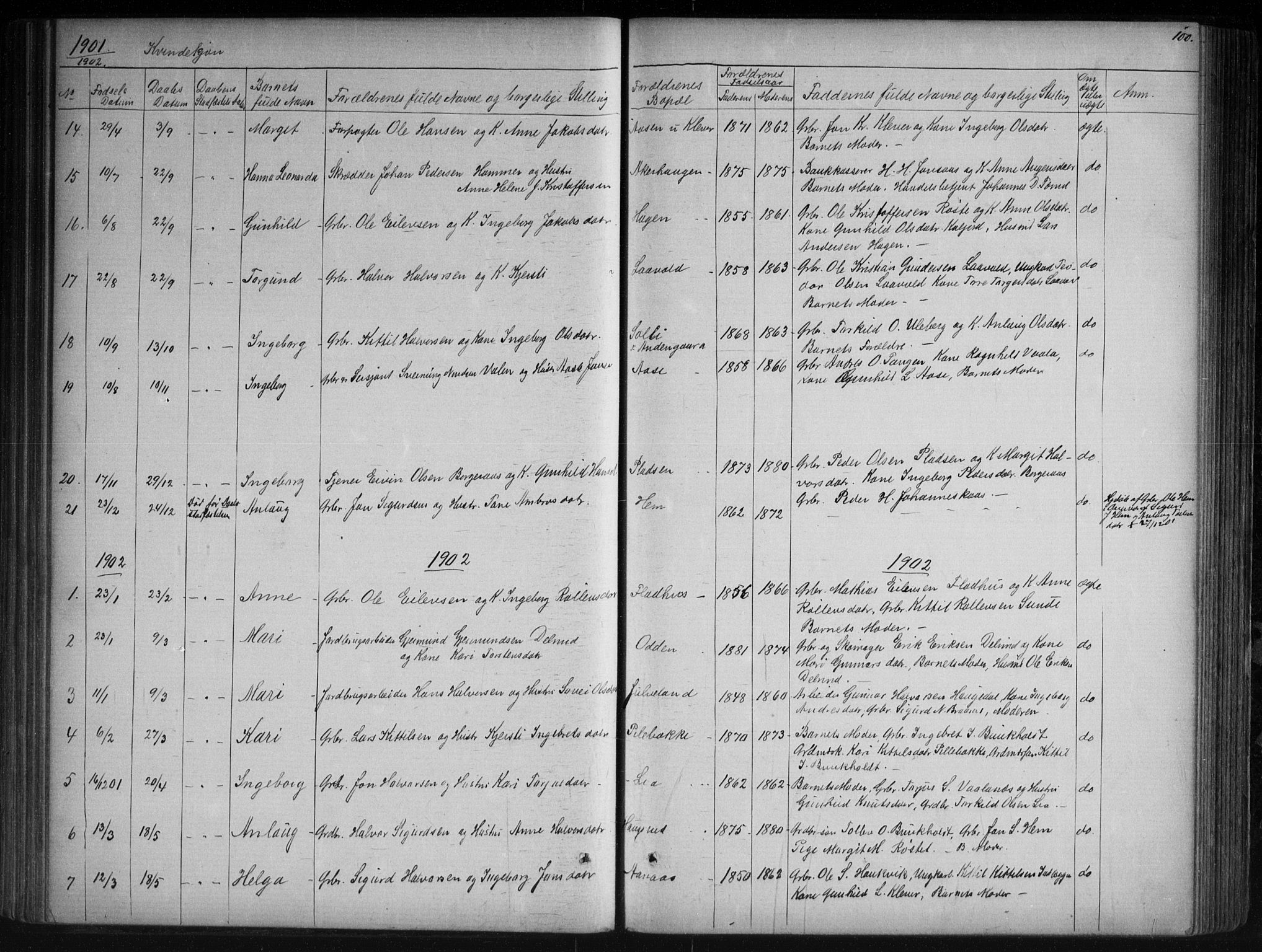 SAKO, Sauherad kirkebøker, G/Ga/L0003: Klokkerbok nr. I 3, 1866-1905, s. 100