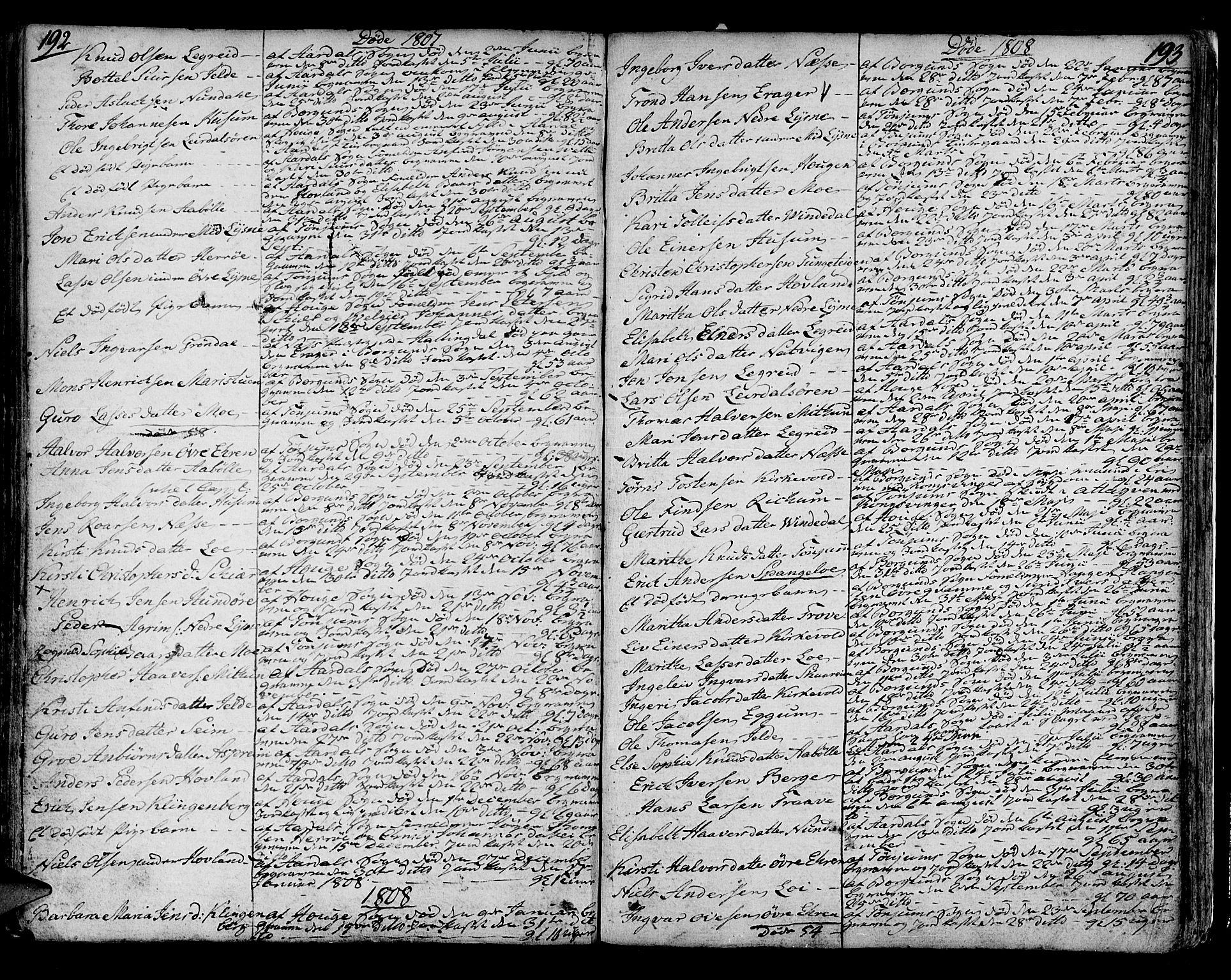 SAB, Lærdal sokneprestembete, Ministerialbok nr. A 4, 1805-1821, s. 192-193