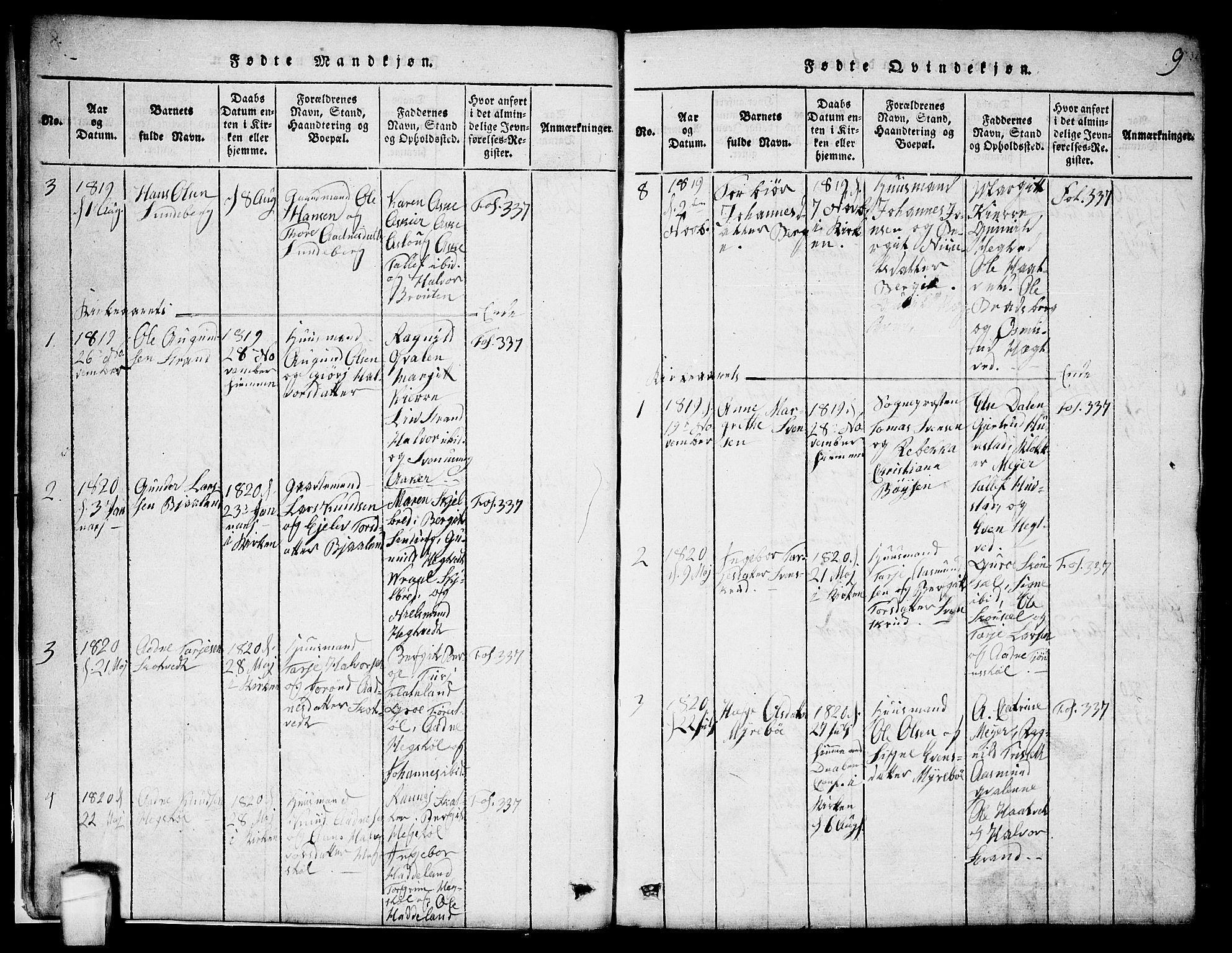 SAKO, Lårdal kirkebøker, G/Ga/L0001: Klokkerbok nr. I 1, 1815-1861, s. 9