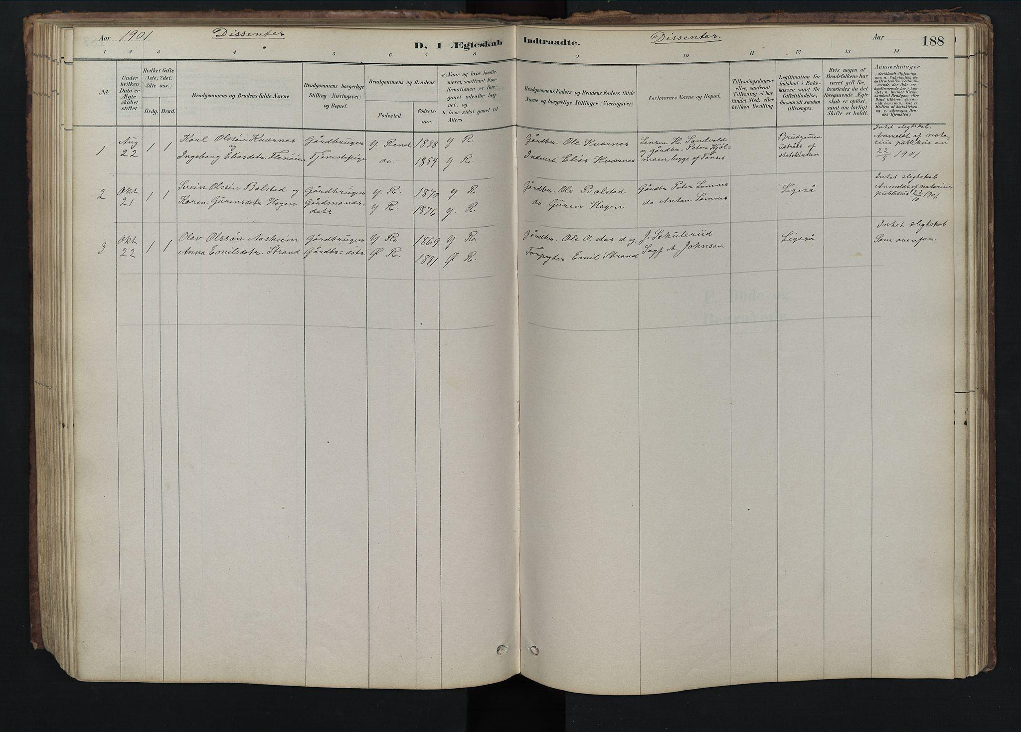 SAH, Rendalen prestekontor, H/Ha/Hab/L0009: Klokkerbok nr. 9, 1879-1902, s. 188