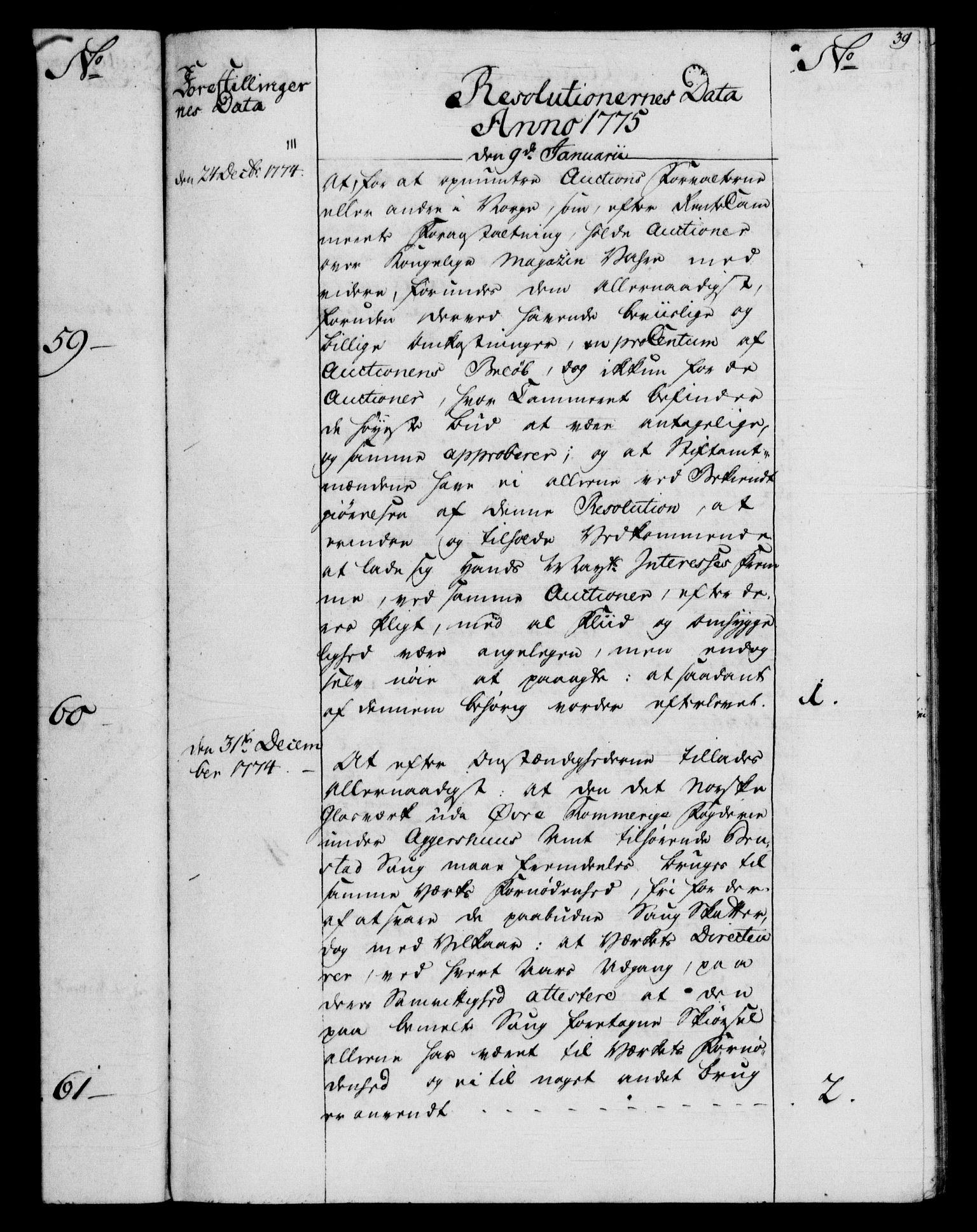 RA, Rentekammeret, Kammerkanselliet, G/Gf/Gfb/L0009: Register til norske relasjons- og resolusjonsprotokoller (merket RK 52.104), 1773-1780, s. 39