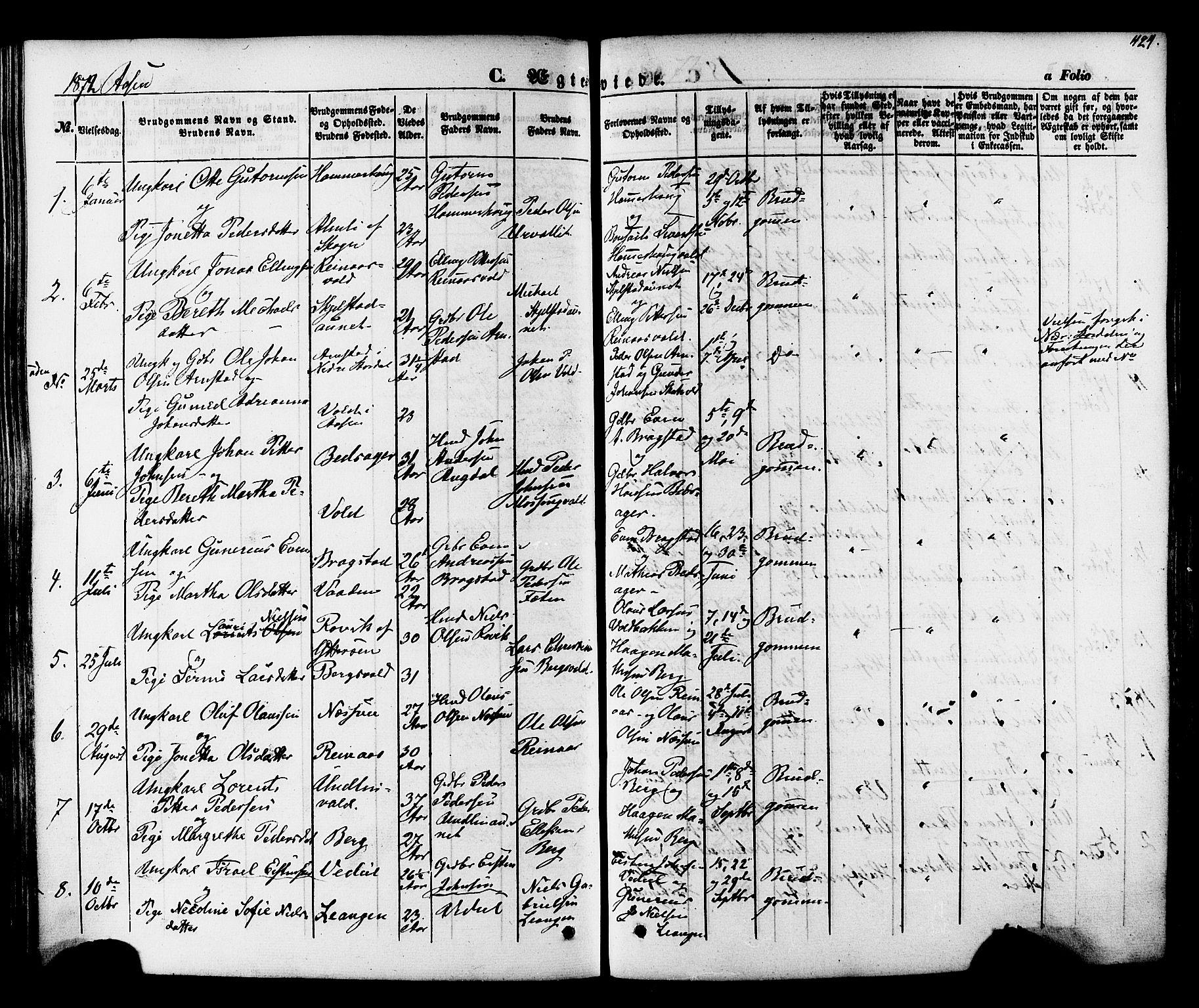 SAT, Ministerialprotokoller, klokkerbøker og fødselsregistre - Nord-Trøndelag, 713/L0116: Ministerialbok nr. 713A07, 1850-1877, s. 424