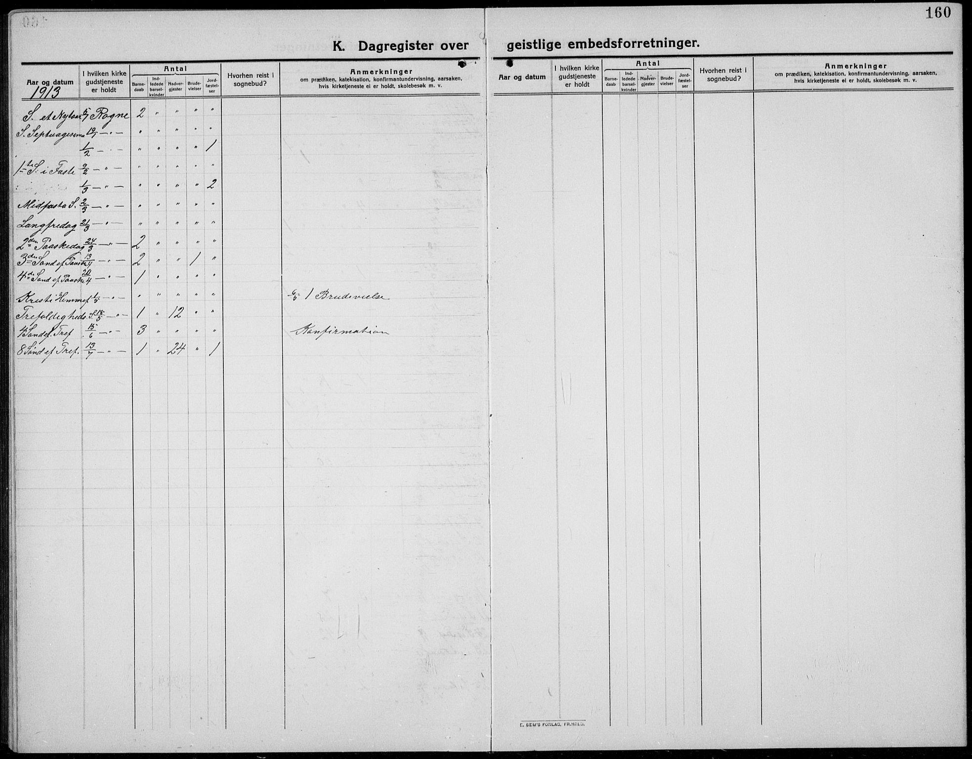 SAH, Øystre Slidre prestekontor, Klokkerbok nr. 8, 1911-1938, s. 160