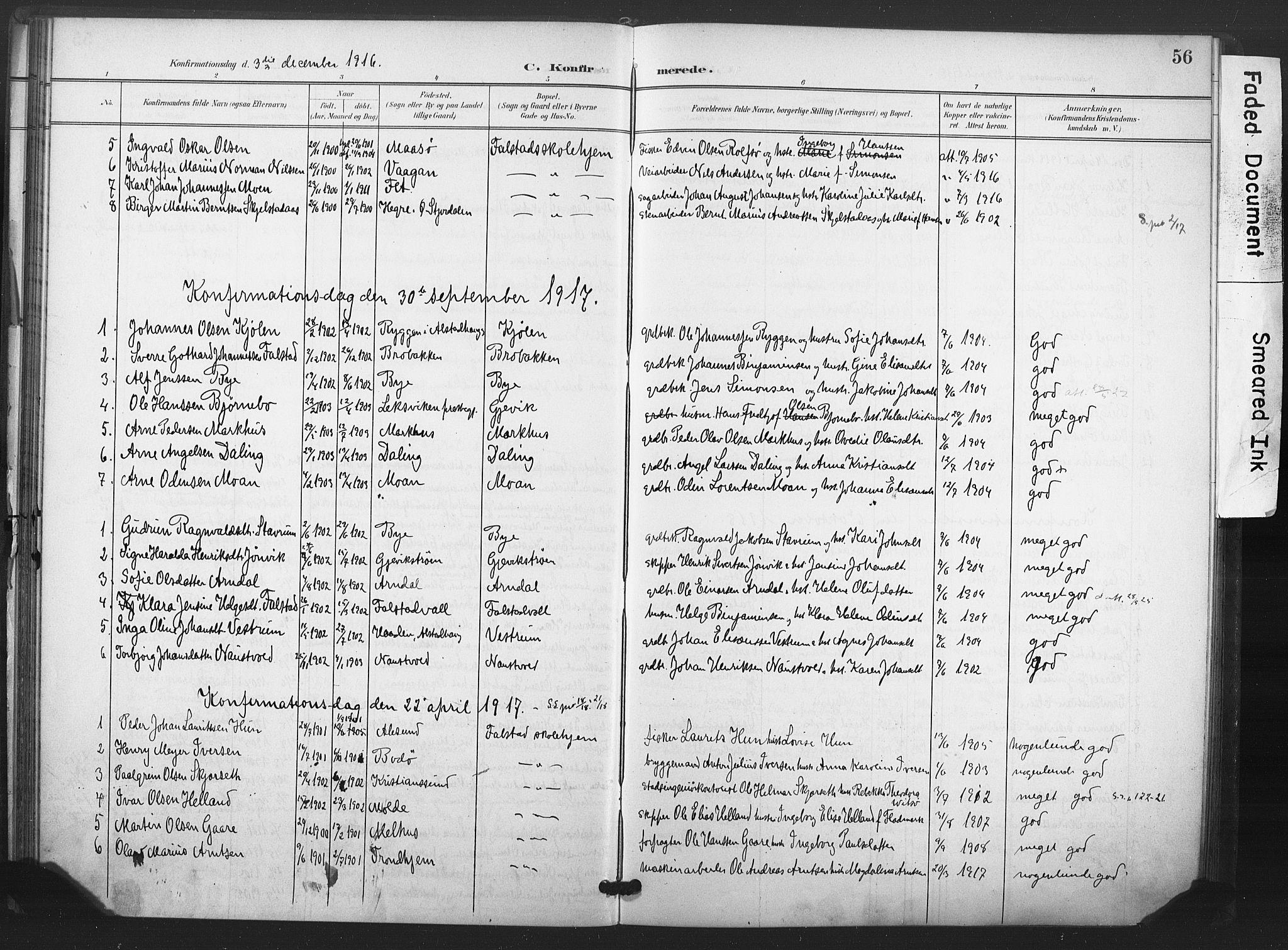 SAT, Ministerialprotokoller, klokkerbøker og fødselsregistre - Nord-Trøndelag, 719/L0179: Ministerialbok nr. 719A02, 1901-1923, s. 56