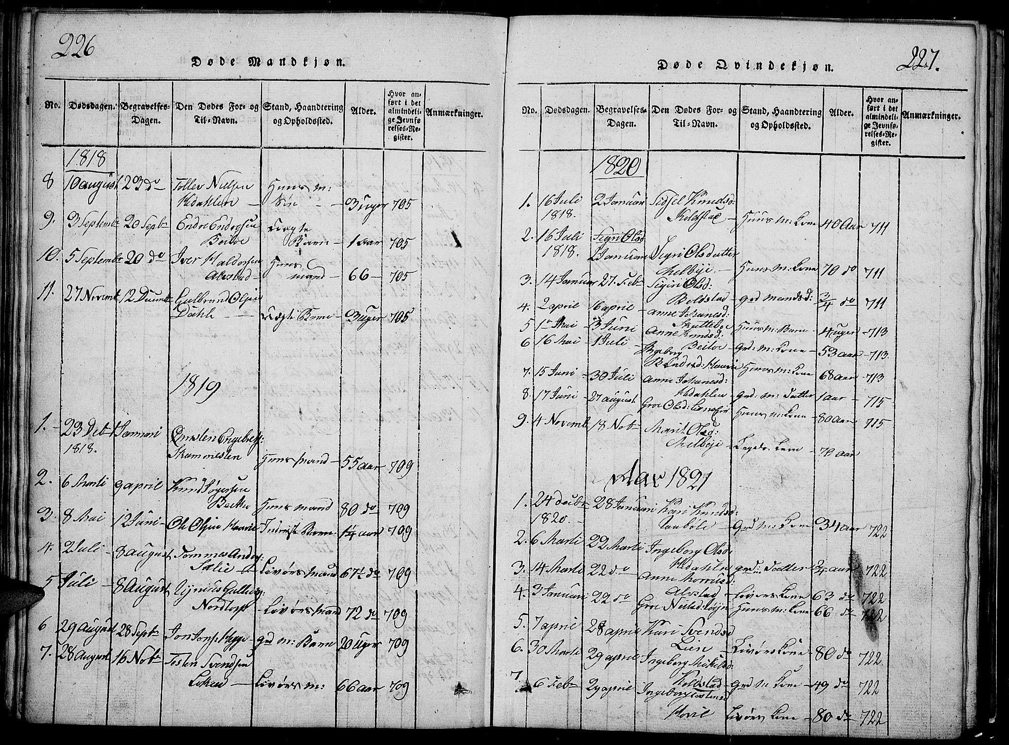 SAH, Slidre prestekontor, Klokkerbok nr. 2, 1814-1839, s. 226-227